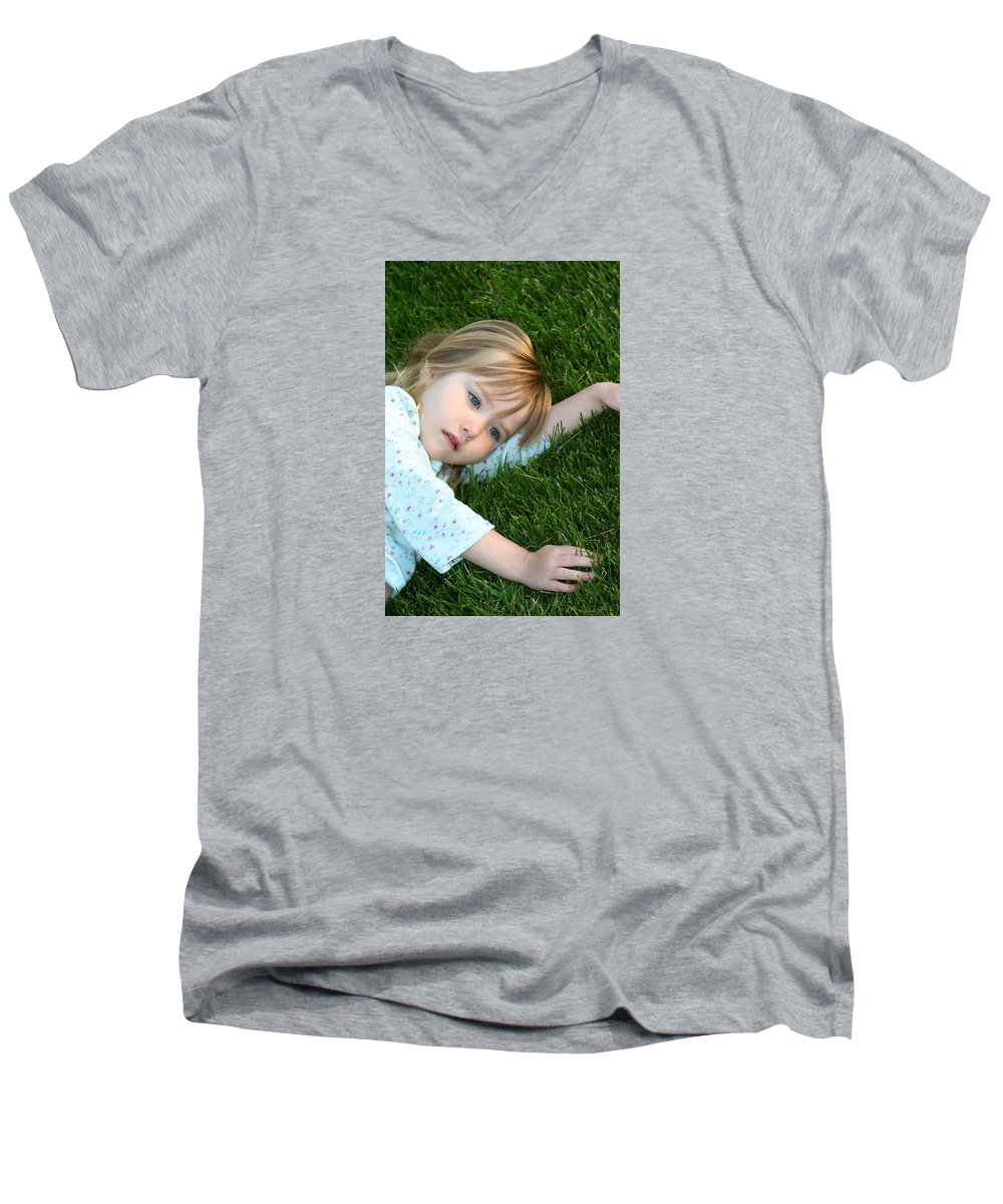 Girl Men's V-Neck T-Shirt featuring the photograph Lying In The Grass by Margie Wildblood