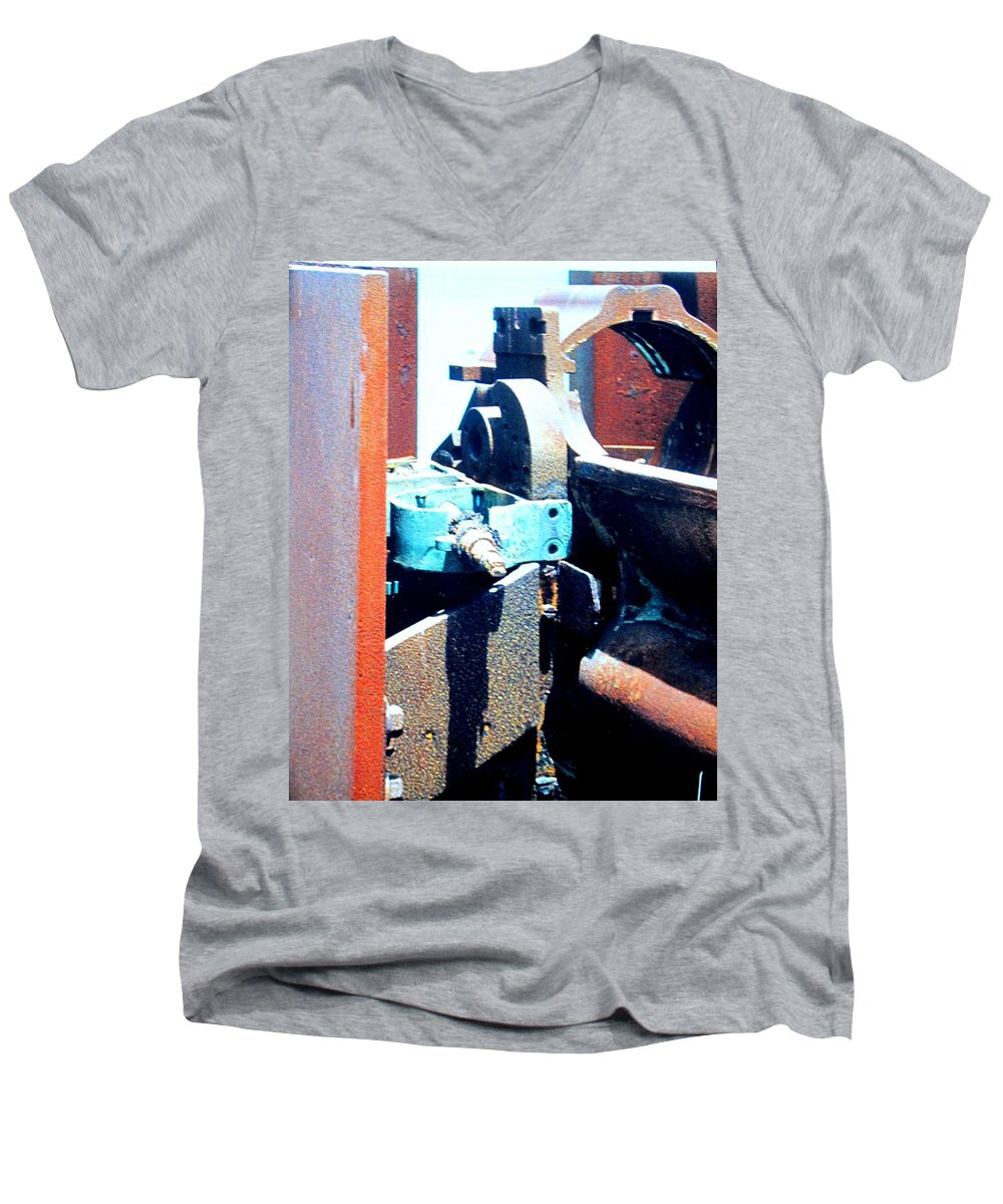 Rust Men's V-Neck T-Shirt featuring the photograph Machinery by Ian MacDonald
