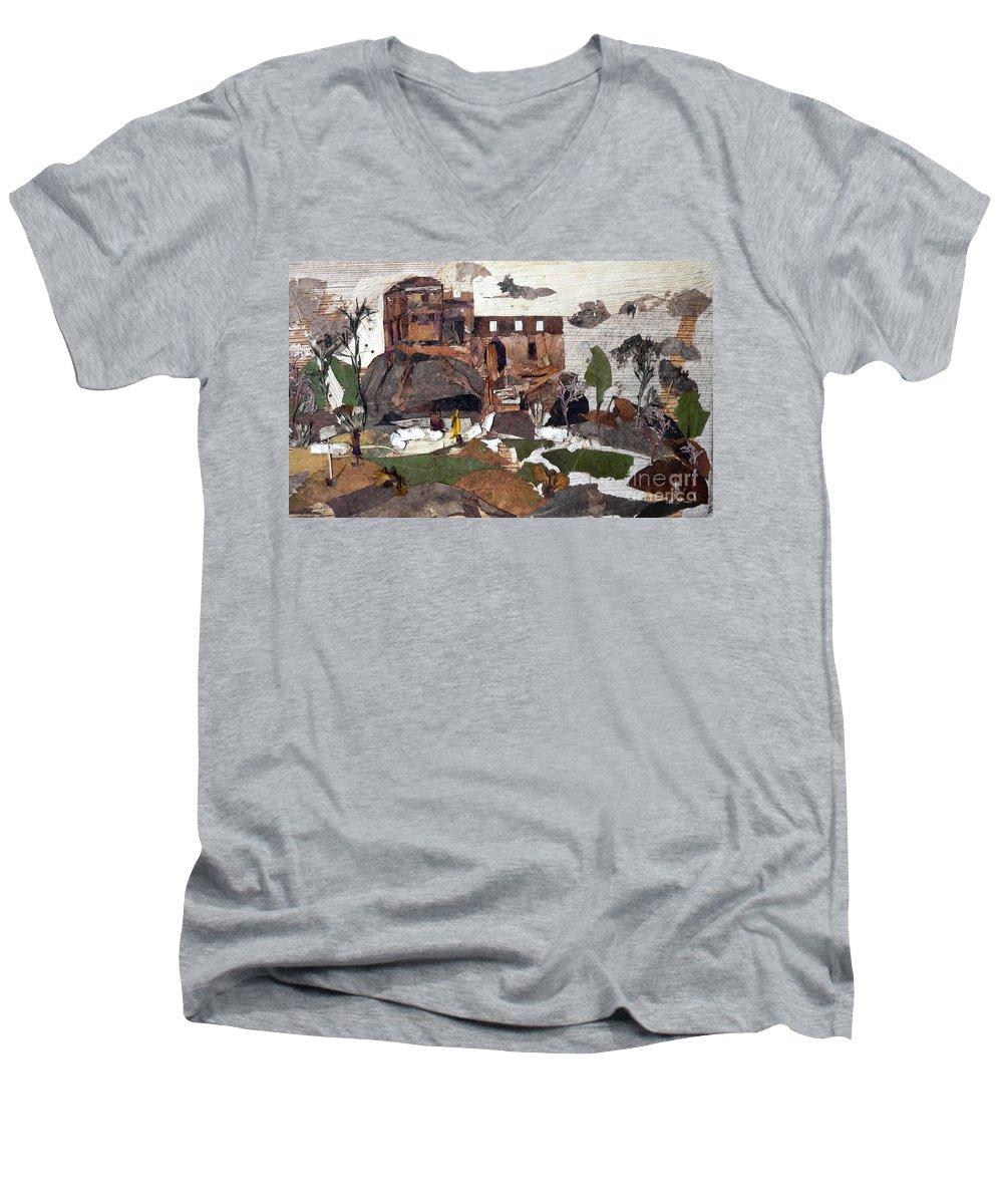 Palace Made By King Madan Shah Men's V-Neck T-Shirt featuring the mixed media Madan Mahal by Basant Soni