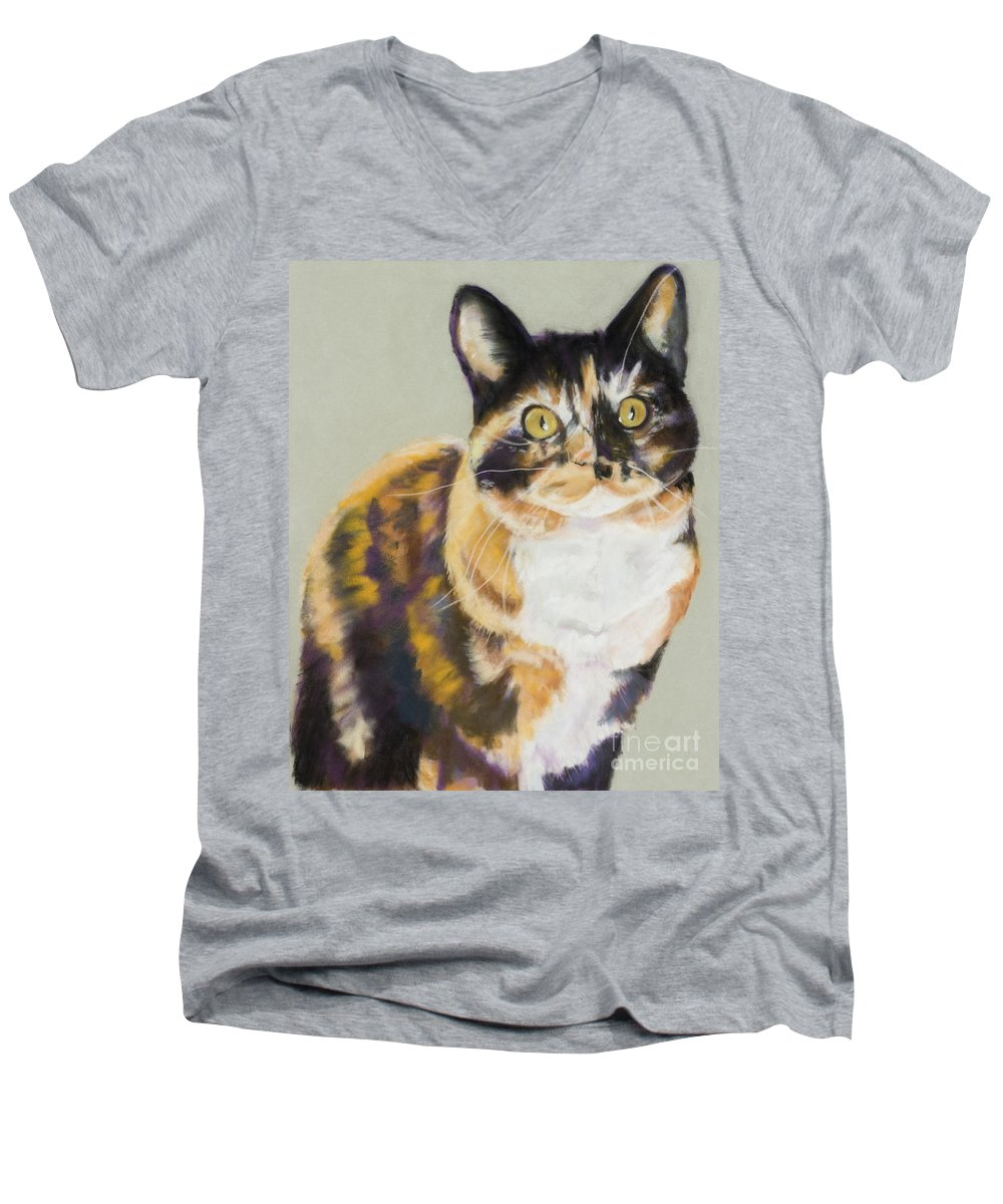 Calico Men's V-Neck T-Shirt featuring the painting Maggie Mae by Pat Saunders-White