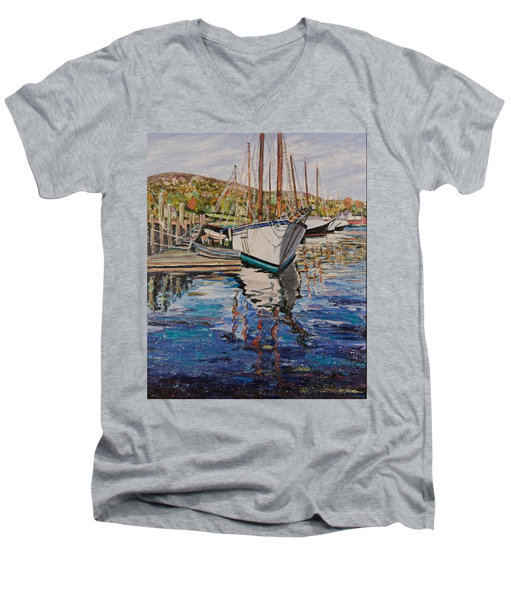 Maine Men's V-Neck T-Shirt featuring the painting Maine Coast Boat Reflections by Richard Nowak