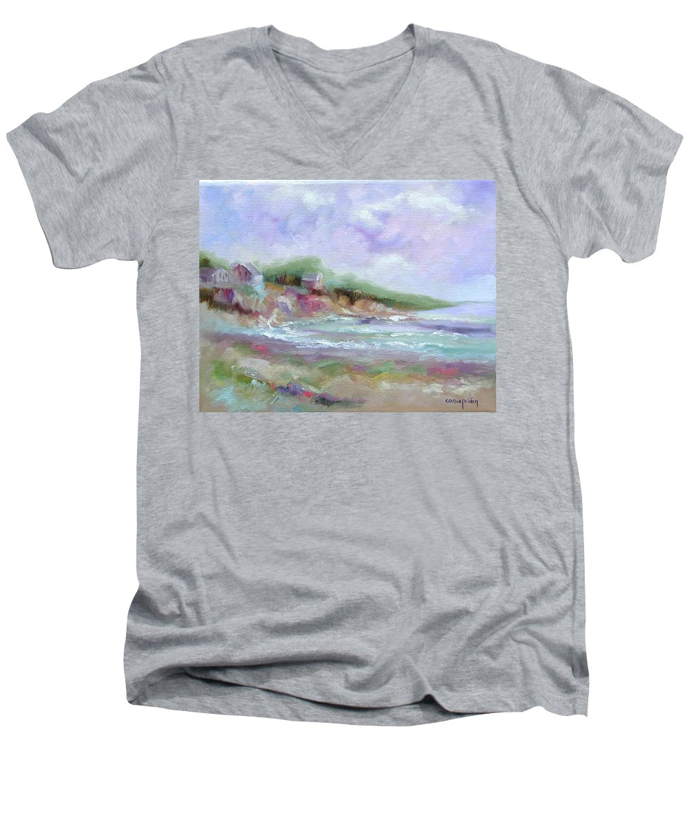 Maine Coastline Men's V-Neck T-Shirt featuring the painting Maine Coastline by Ginger Concepcion