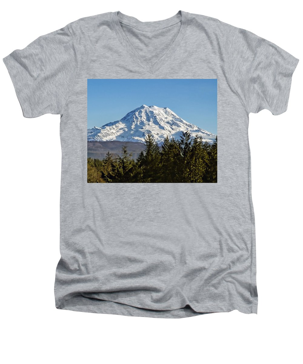 Mount Rainier Men's V-Neck T-Shirt featuring the photograph Majestic by Kelley King