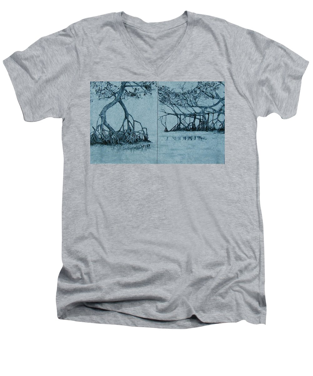 Blue Men's V-Neck T-Shirt featuring the painting Mangroves by Leah Tomaino