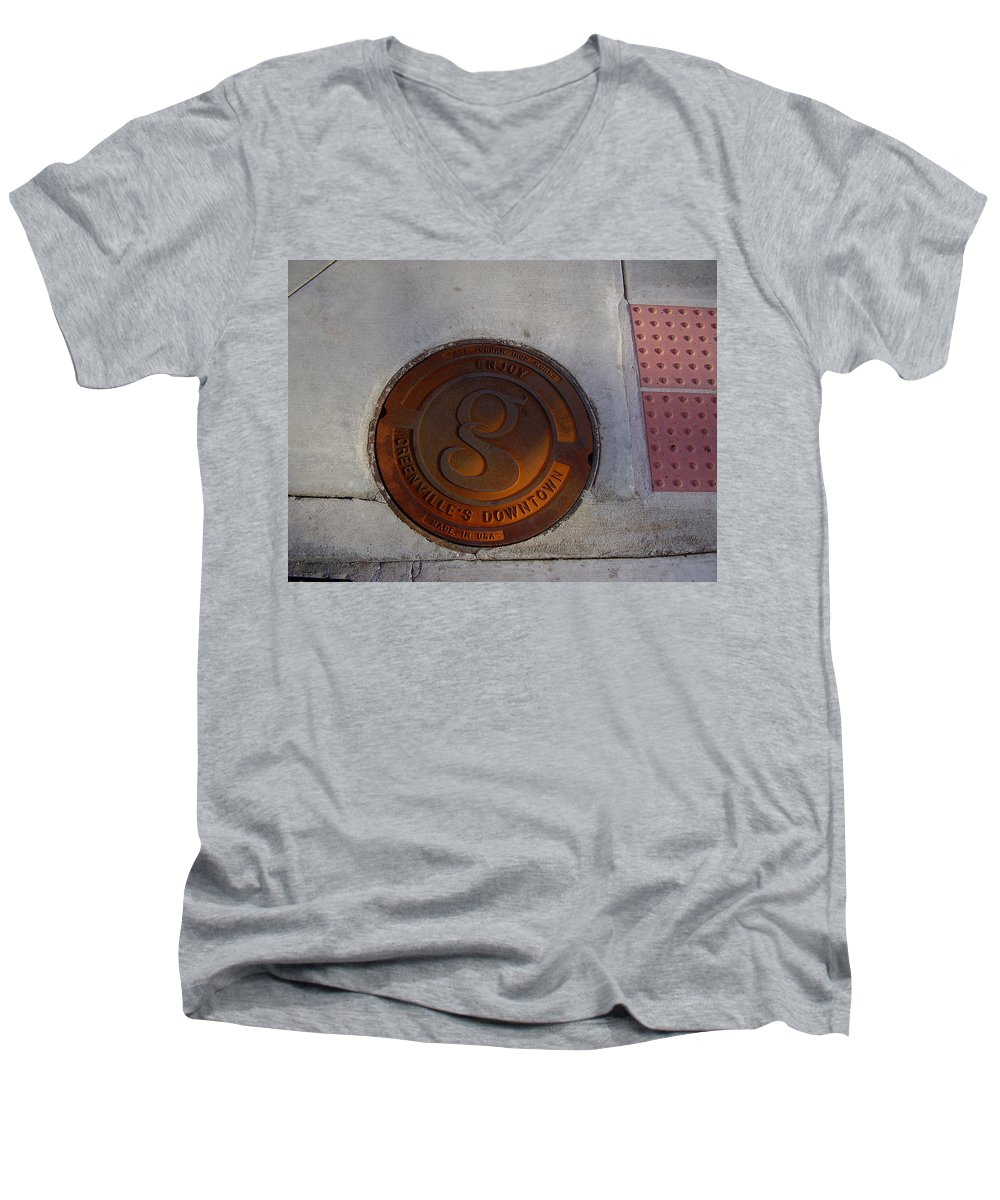 Manhole Men's V-Neck T-Shirt featuring the photograph Manhole I by Flavia Westerwelle