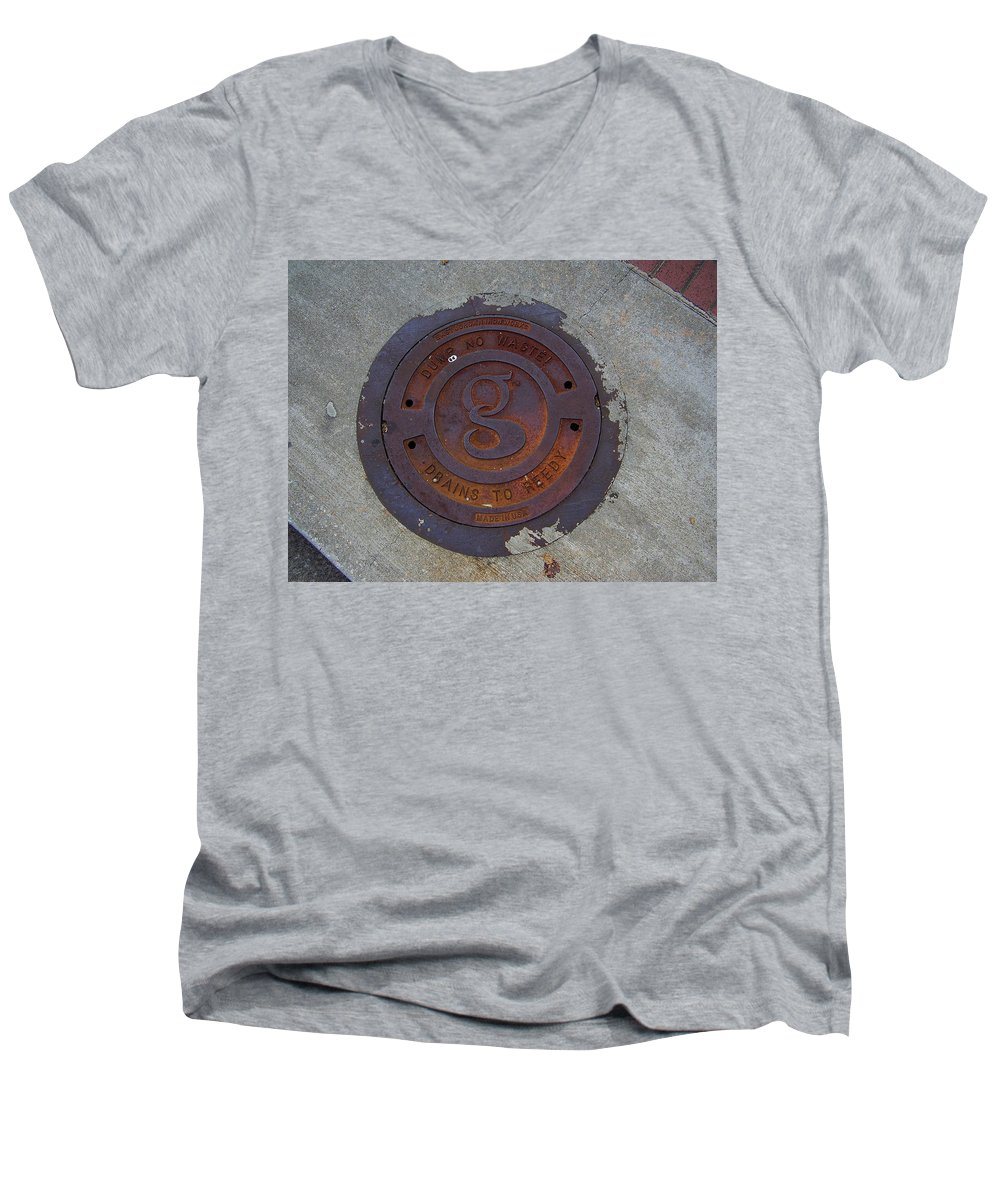 Manhole Men's V-Neck T-Shirt featuring the photograph Manhole IIi by Flavia Westerwelle
