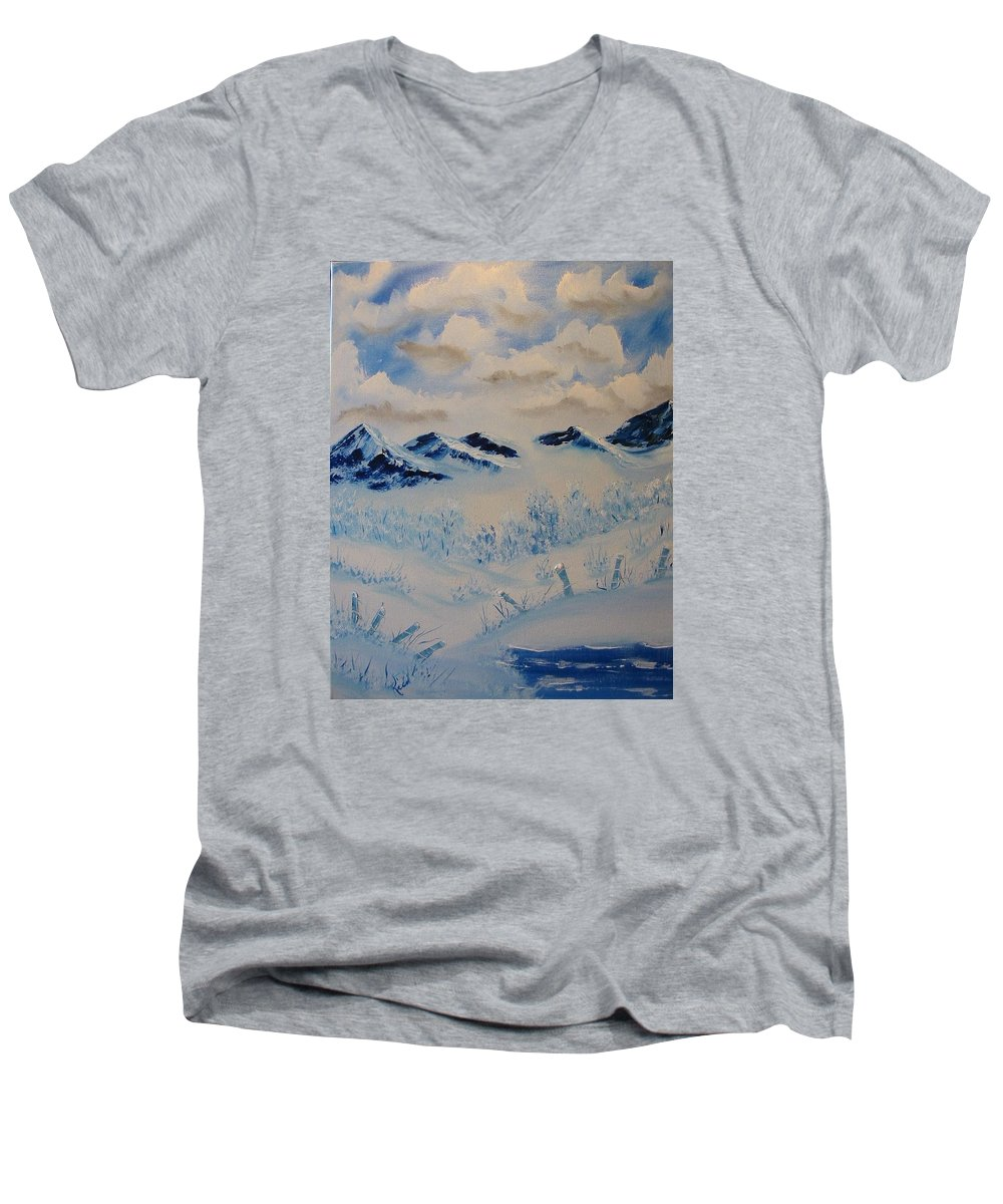 Blue Men's V-Neck T-Shirt featuring the painting Many Valleys by Laurie Kidd