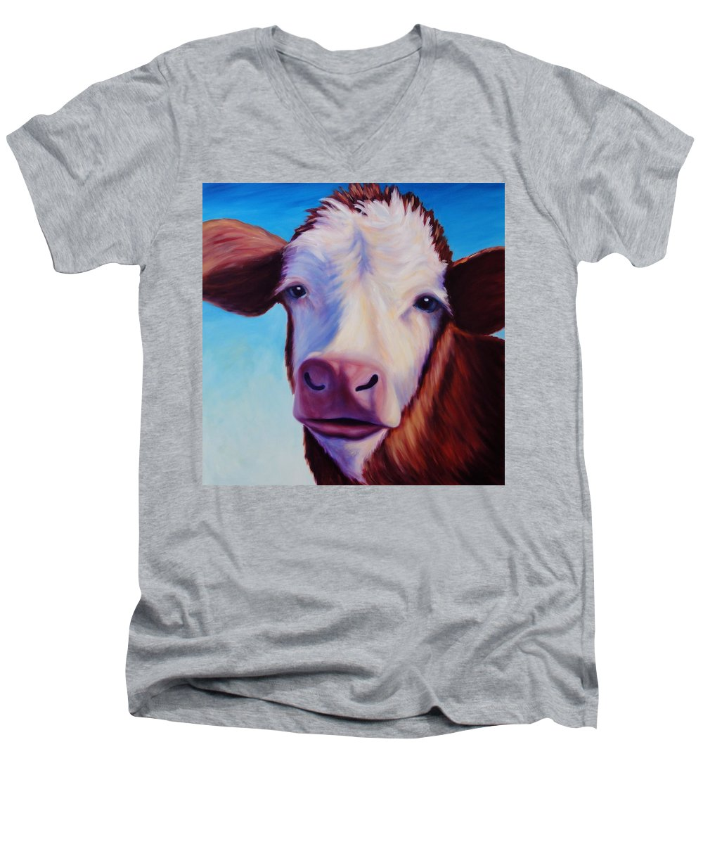 Cow Men's V-Neck T-Shirt featuring the painting Marie by Shannon Grissom