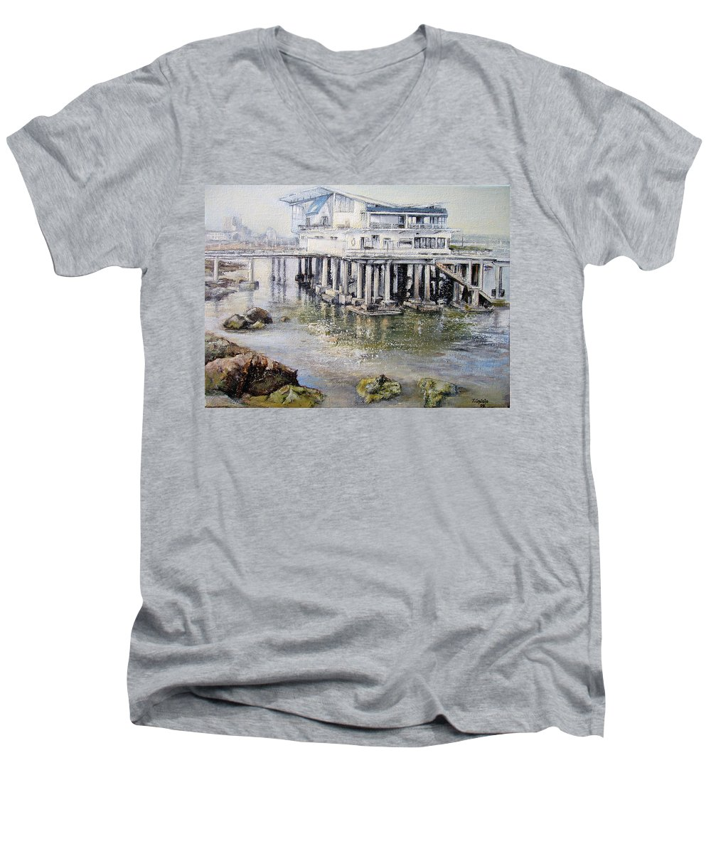 Maritim Men's V-Neck T-Shirt featuring the painting Maritim Club Castro Urdiales by Tomas Castano
