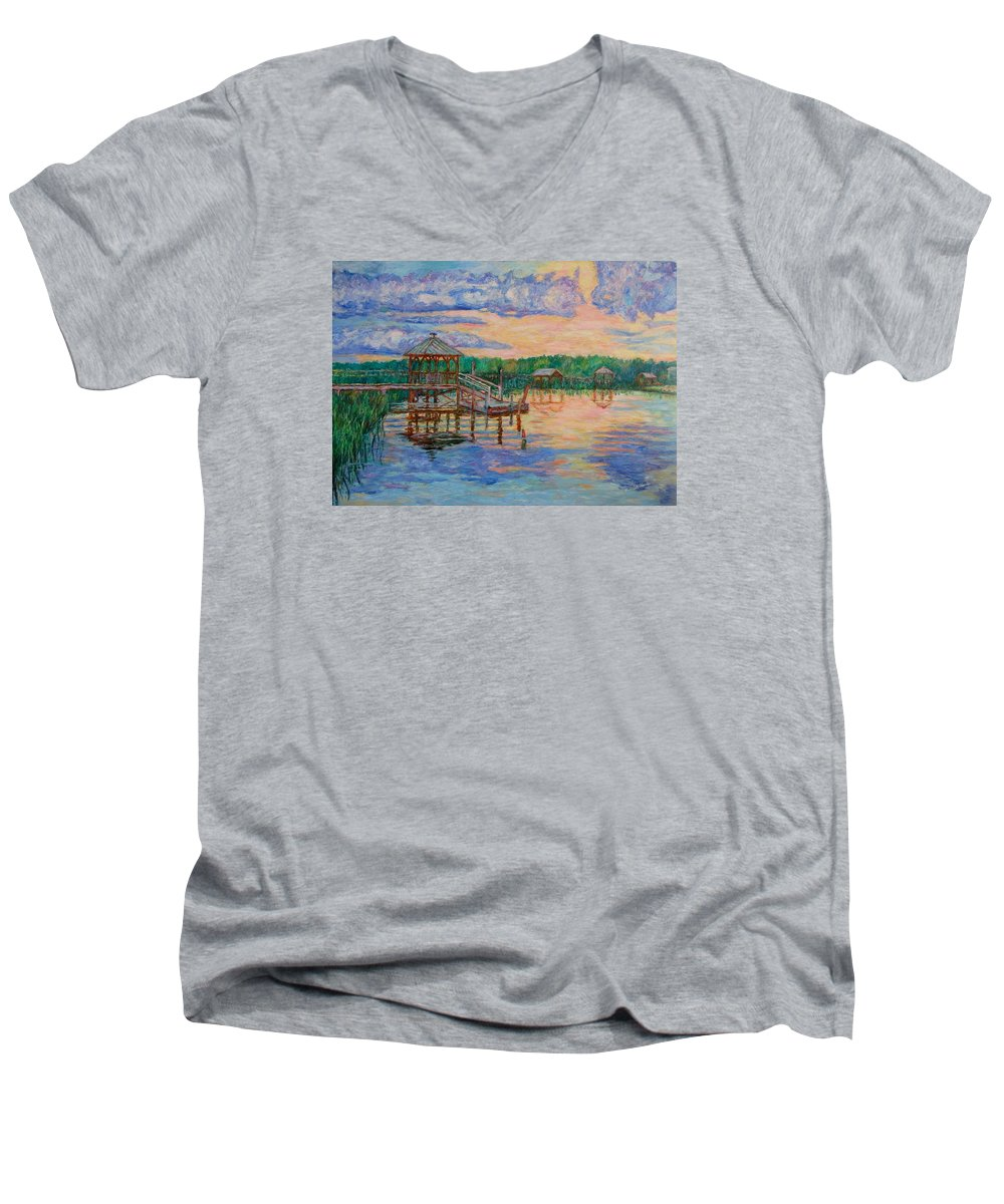 Landscape Men's V-Neck T-Shirt featuring the painting Marsh View At Pawleys Island by Kendall Kessler