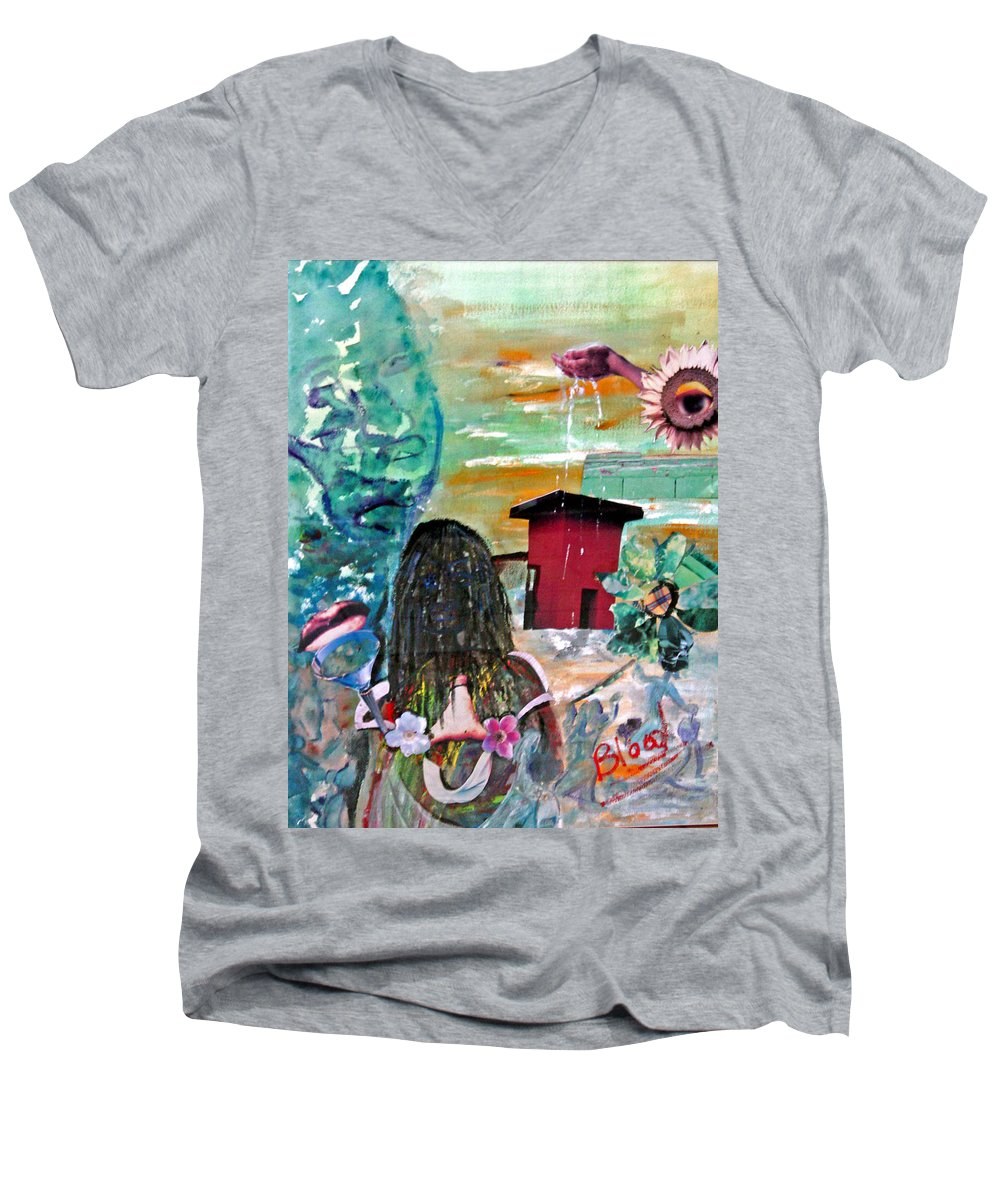 Water Men's V-Neck T-Shirt featuring the painting Masks Of Life by Peggy Blood