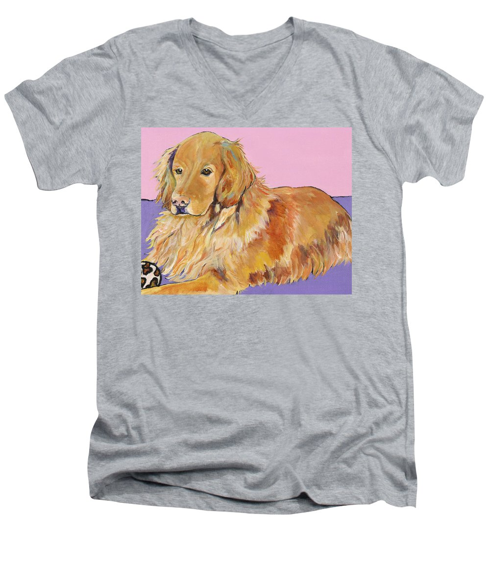 Golden Retriever Men's V-Neck T-Shirt featuring the painting Maya by Pat Saunders-White