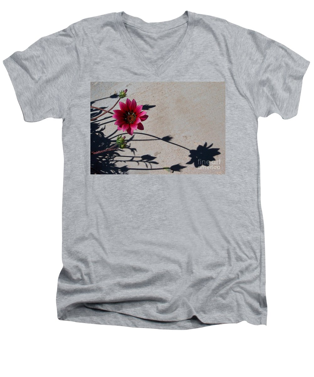 Flowers Men's V-Neck T-Shirt featuring the photograph Me And My Shadow by Kathy McClure