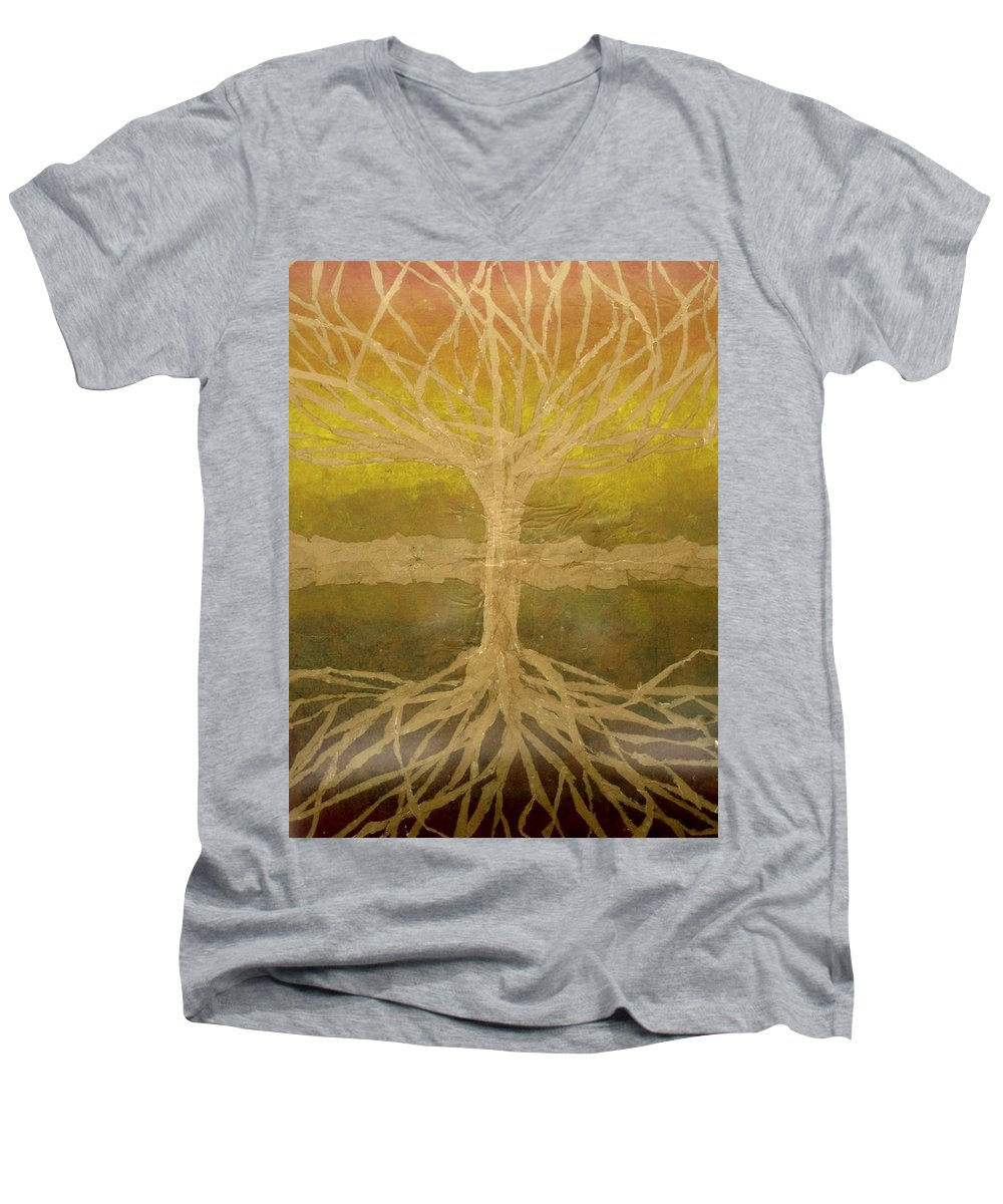 Abstract Men's V-Neck T-Shirt featuring the painting Meditation by Leah Tomaino