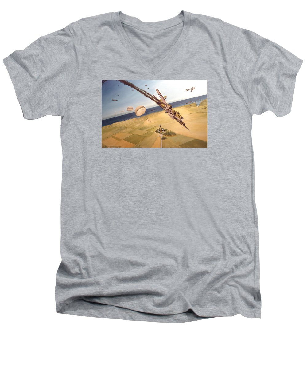 Aviation Men's V-Neck T-Shirt featuring the painting Mehitabel by Marc Stewart