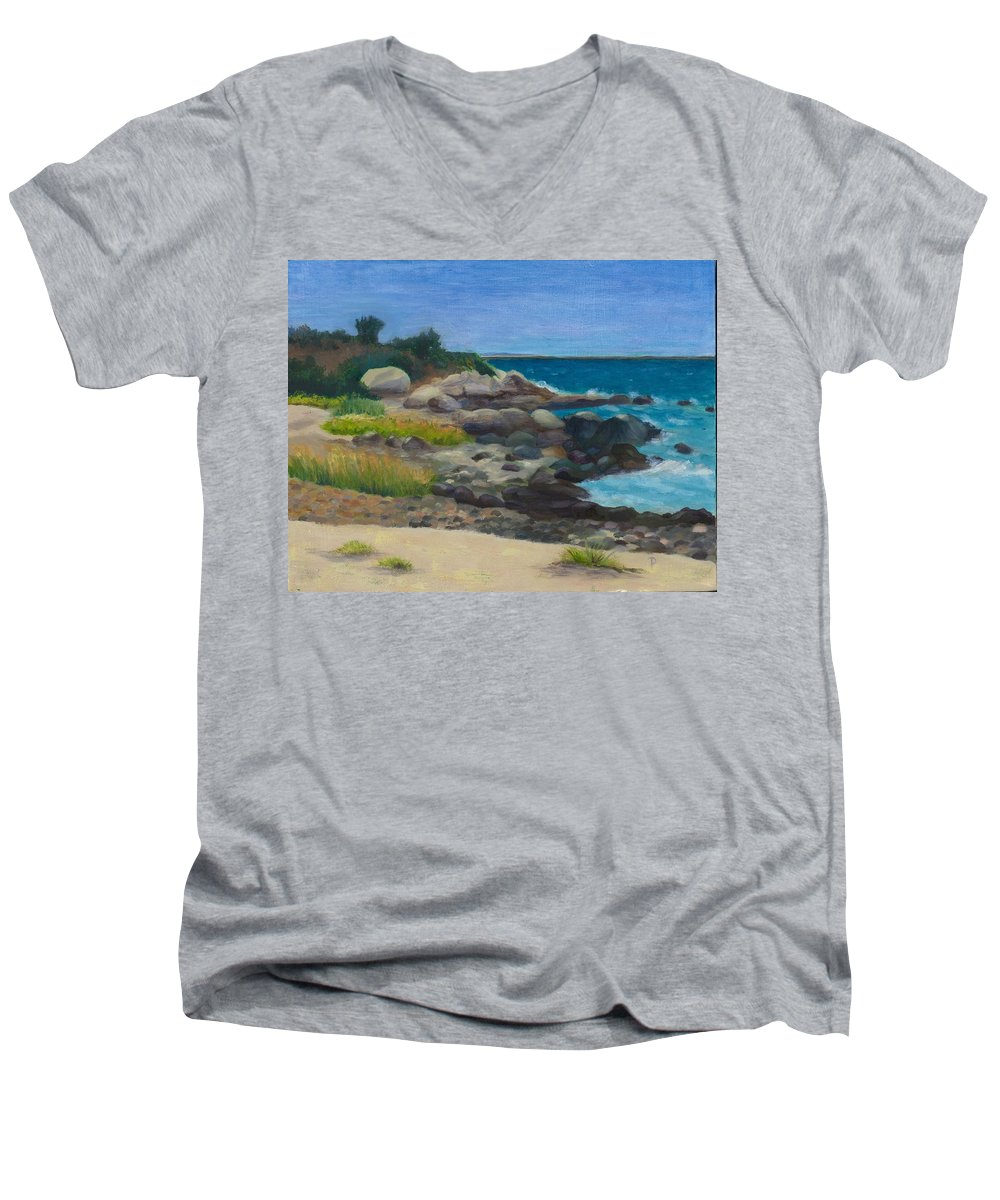 Landscape Men's V-Neck T-Shirt featuring the painting Meigs Point by Paula Emery
