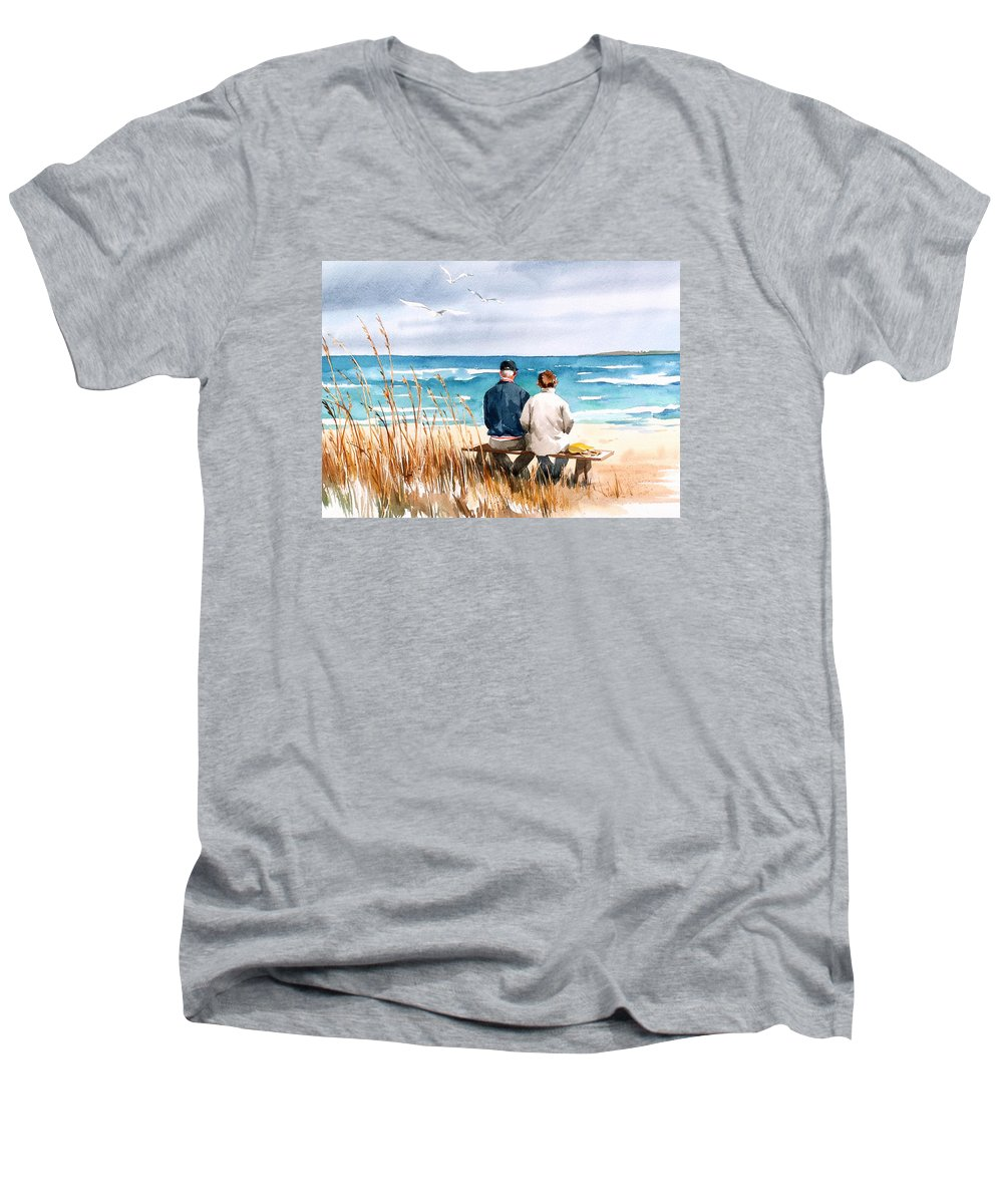 Couple On Beach Men's V-Neck T-Shirt featuring the painting Memories by Art Scholz