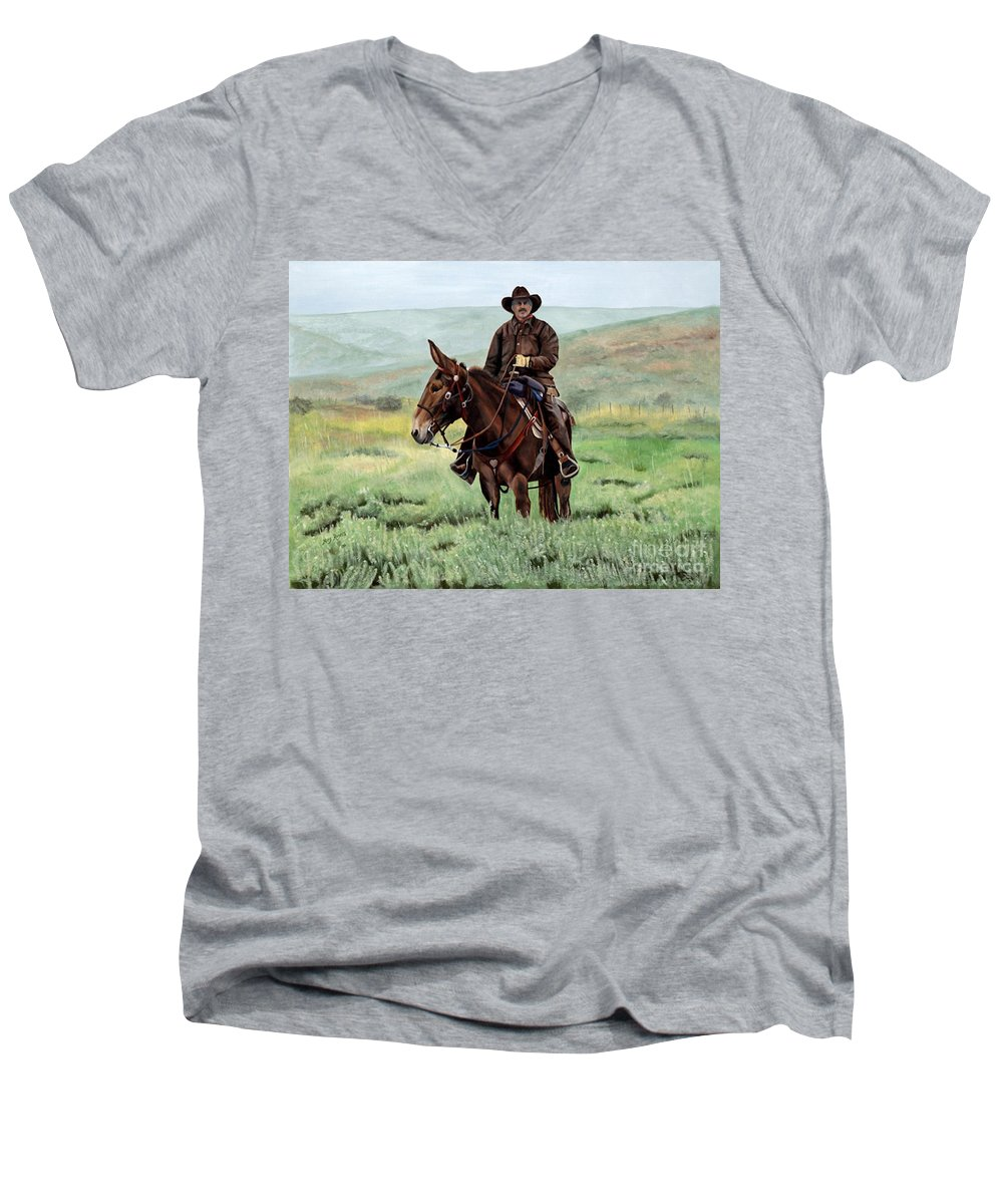Usa Men's V-Neck T-Shirt featuring the painting Memories Of Molly by Mary Rogers