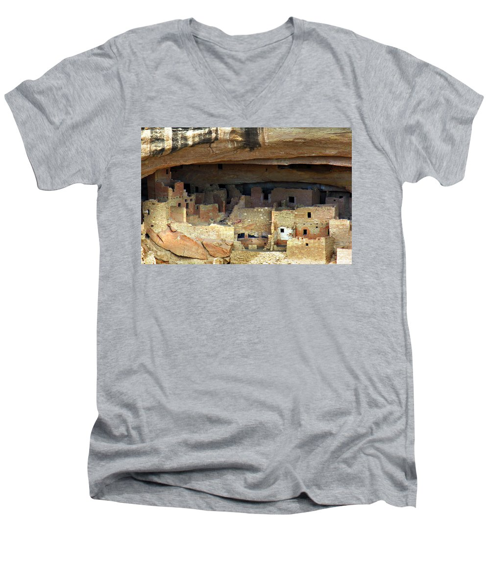 Americana Men's V-Neck T-Shirt featuring the photograph Mesa Verde by Marilyn Hunt