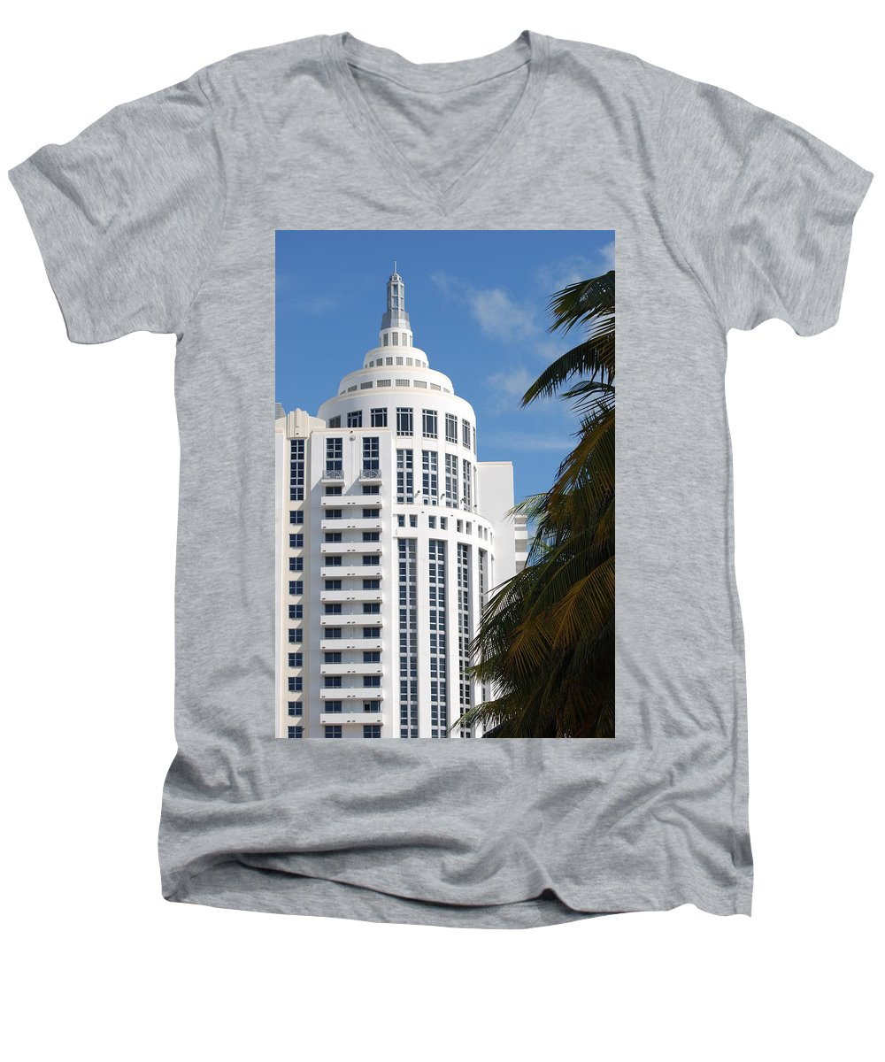 Architecture Men's V-Neck T-Shirt featuring the photograph Miami S Capitol Building by Rob Hans