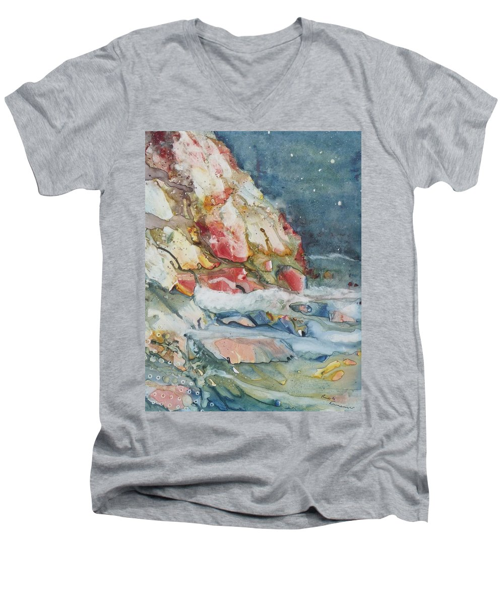 Abstract Men's V-Neck T-Shirt featuring the painting Midnight Surf by Ruth Kamenev
