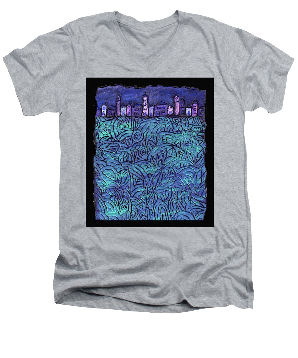 Night Men's V-Neck T-Shirt featuring the painting Midnight by Wayne Potrafka