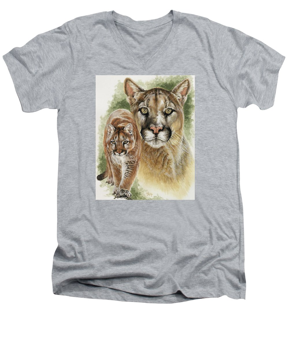 Cougar Men's V-Neck T-Shirt featuring the mixed media Mighty by Barbara Keith