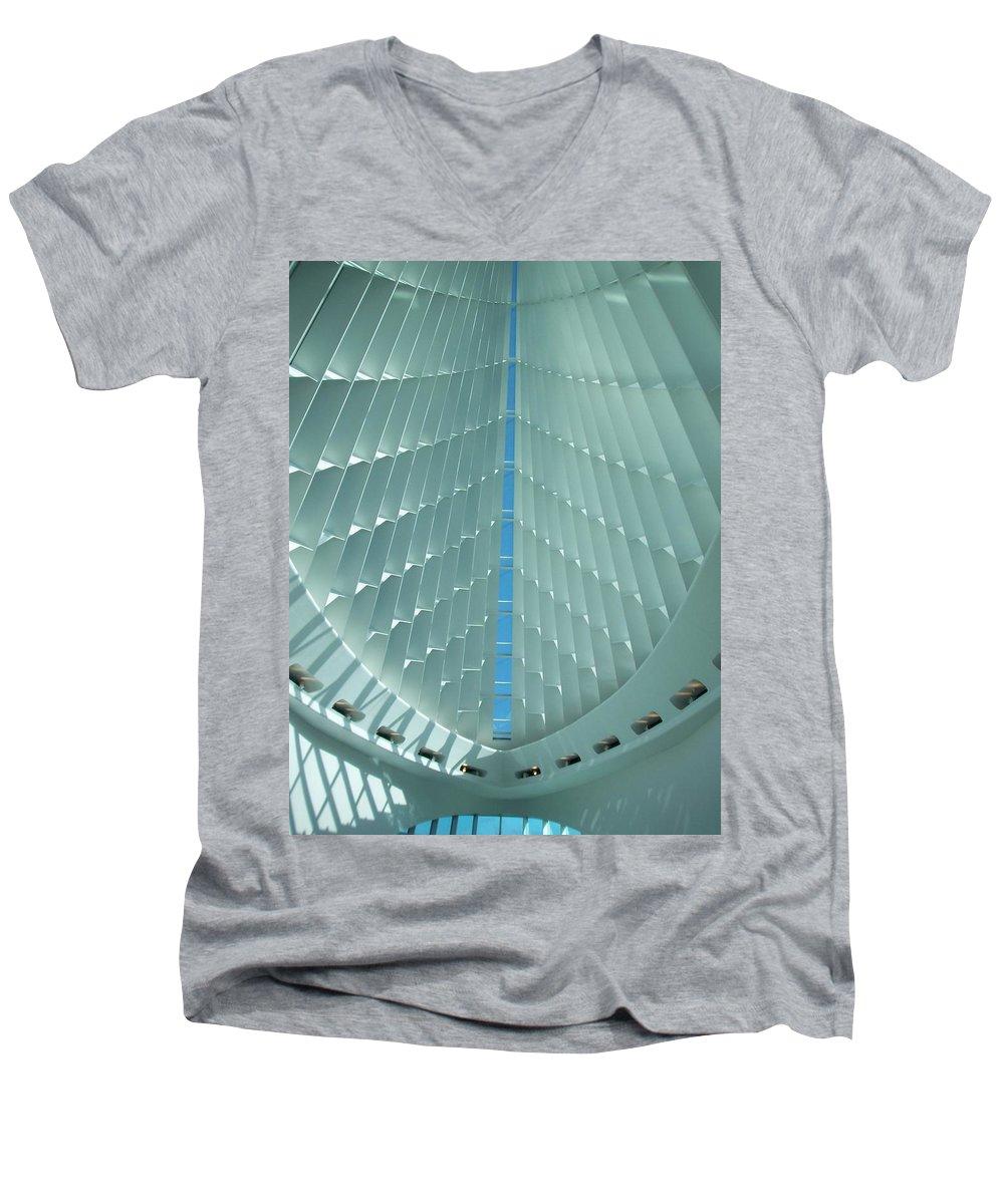 Mam Men's V-Neck T-Shirt featuring the photograph Milwaukee Art Museum Interior by Anita Burgermeister