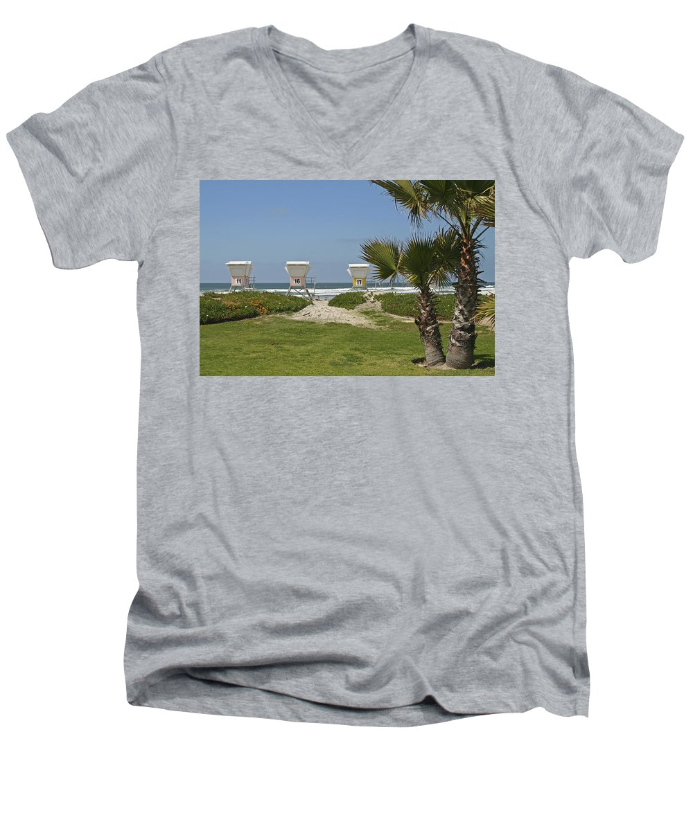 Beach Men's V-Neck T-Shirt featuring the photograph Mission Beach Shelters by Margie Wildblood