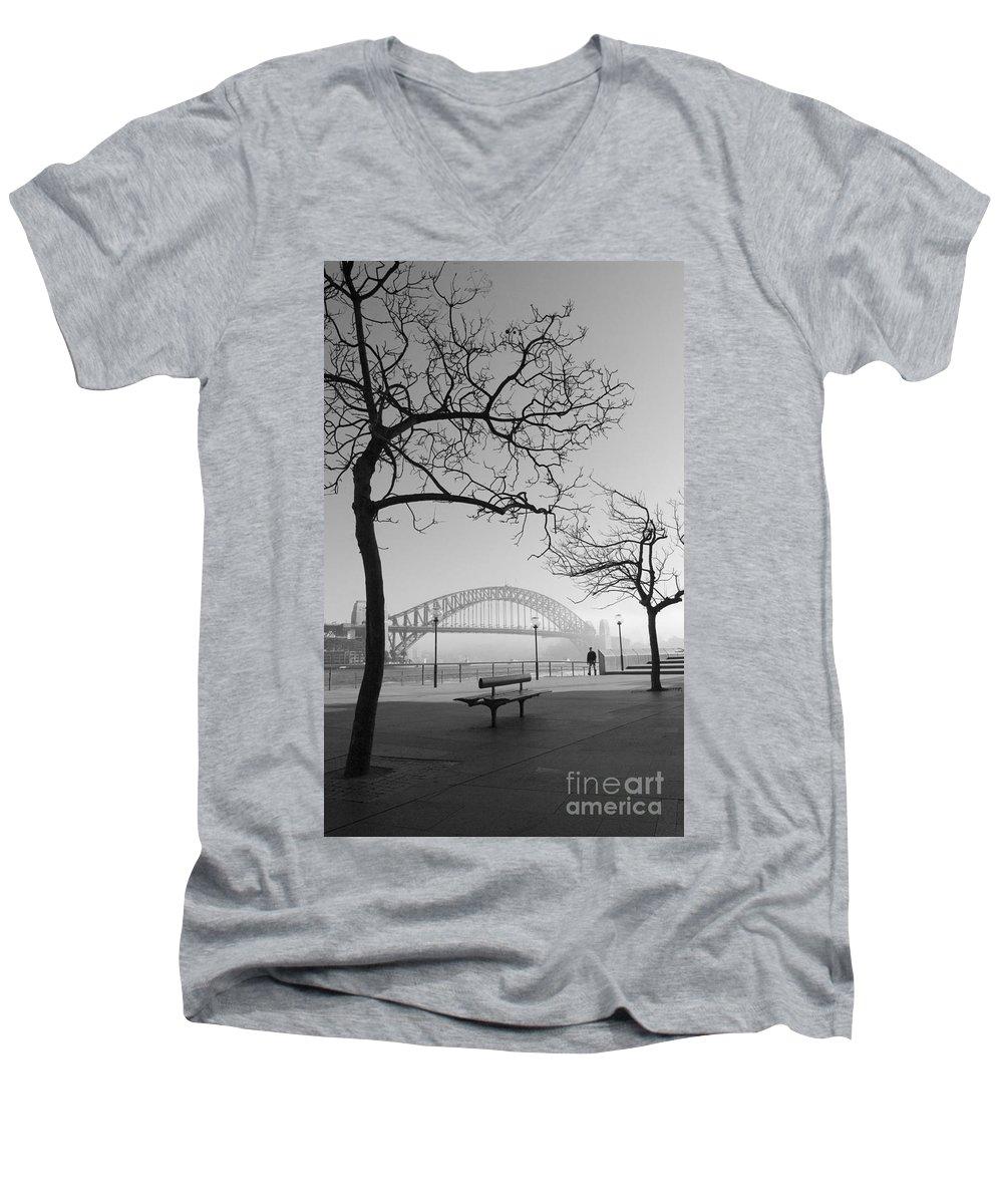 Sydney Harbour Bridge Mist Australia Men's V-Neck T-Shirt featuring the photograph Misty Sydney Morning by Avalon Fine Art Photography