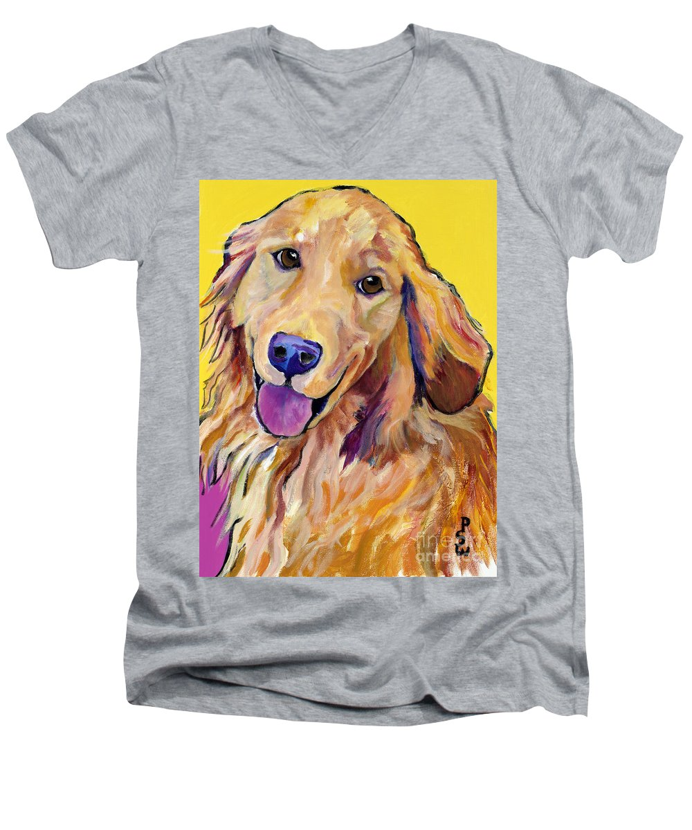 Acrylic Paintings Men's V-Neck T-Shirt featuring the painting Molly by Pat Saunders-White