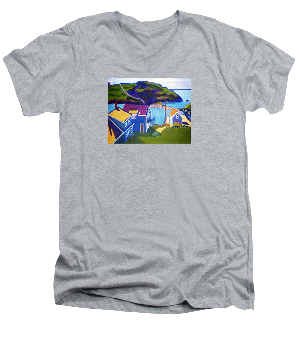 Seascape Men's V-Neck T-Shirt featuring the painting Monhegan Harbor by Debra Bretton Robinson