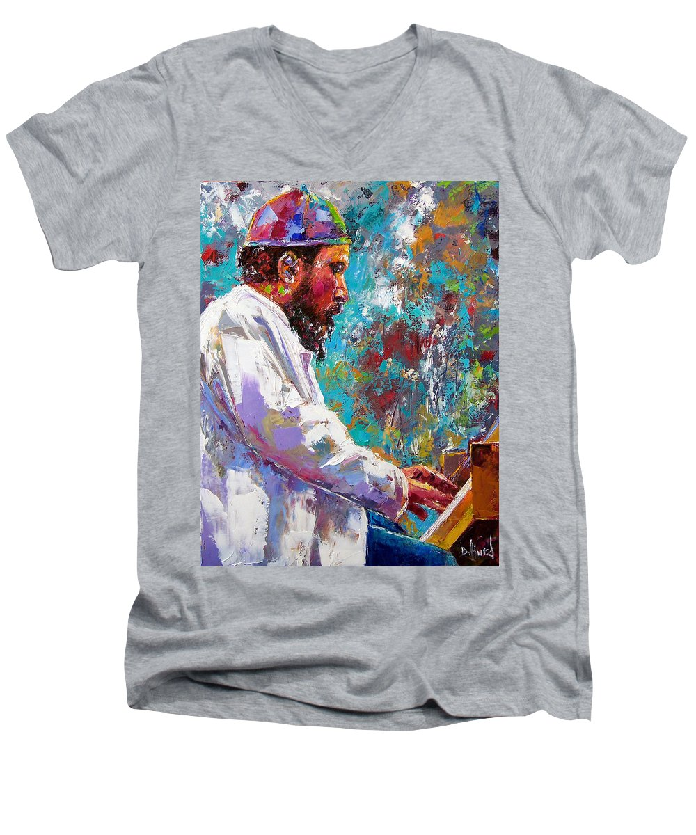 Thelonious Monk Art Men's V-Neck T-Shirt featuring the painting Monk Live by Debra Hurd