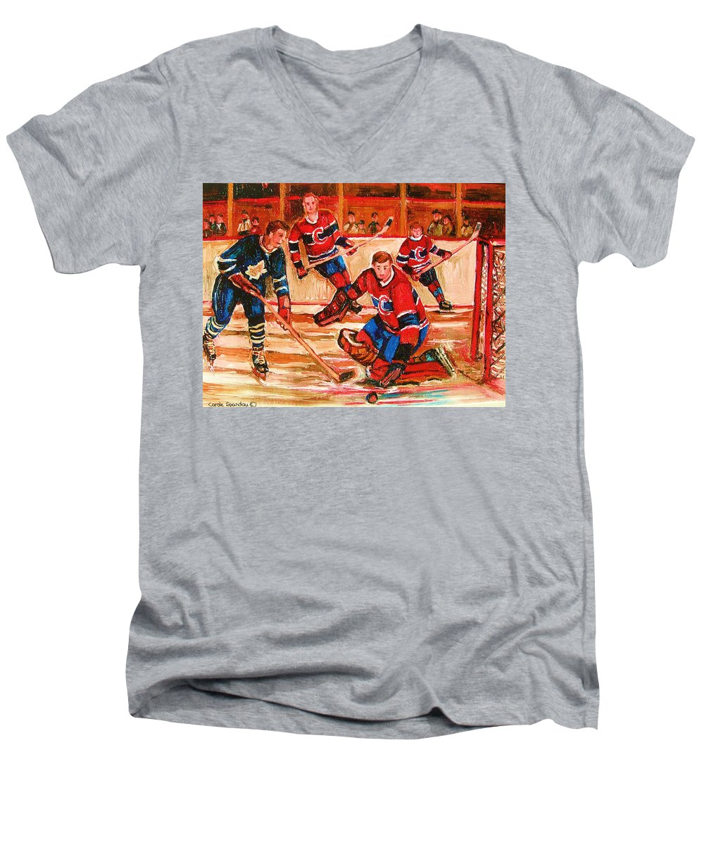 Montreal Forum Hockey Men's V-Neck T-Shirt featuring the painting Montreal Forum Hockey Game by Carole Spandau