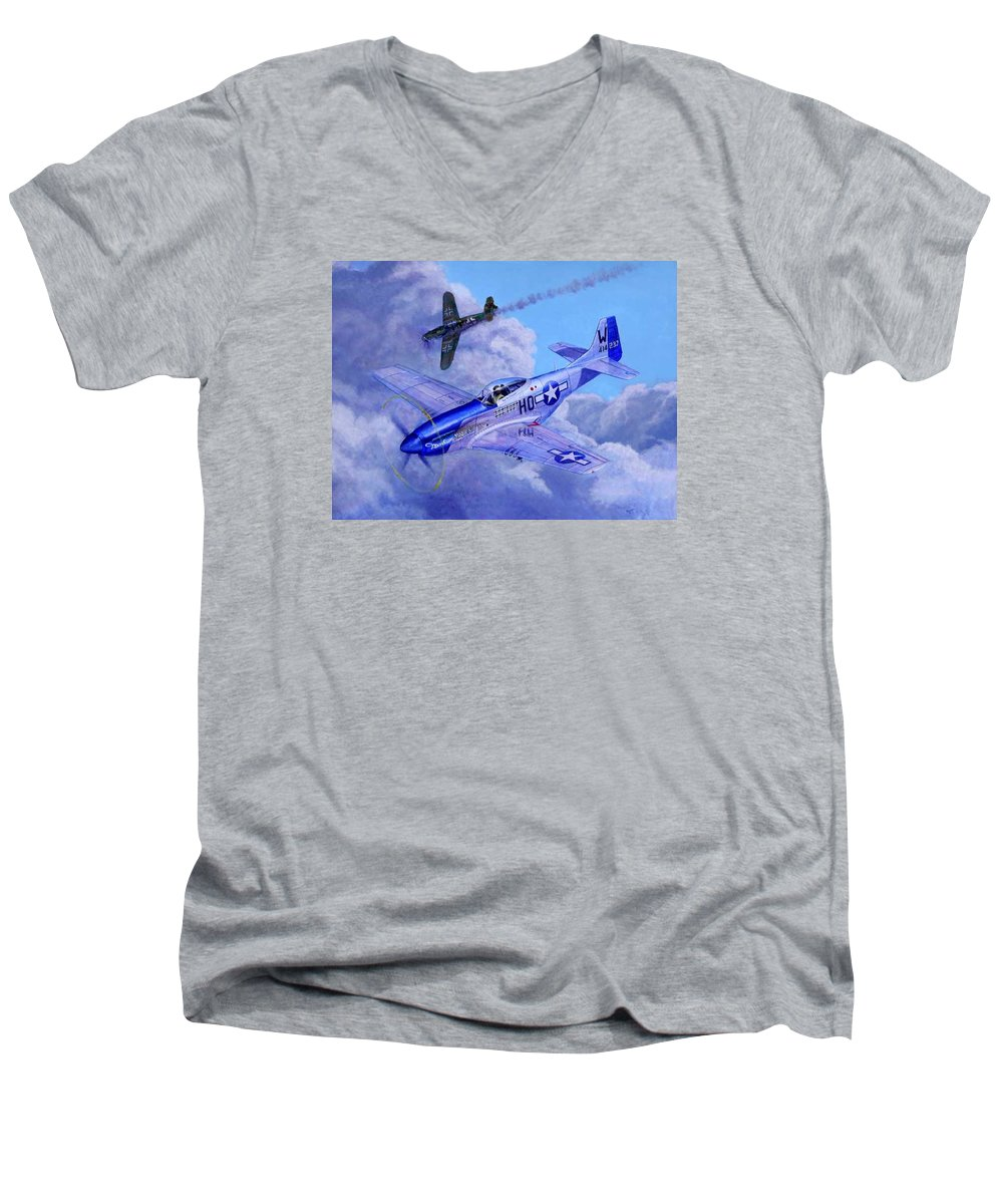 Capt Bill Wisner Shoots Down Two Bf-109s On November 2nd 1944 Men's V-Neck T-Shirt featuring the painting Moonbeam Mcswine by Scott Robertson