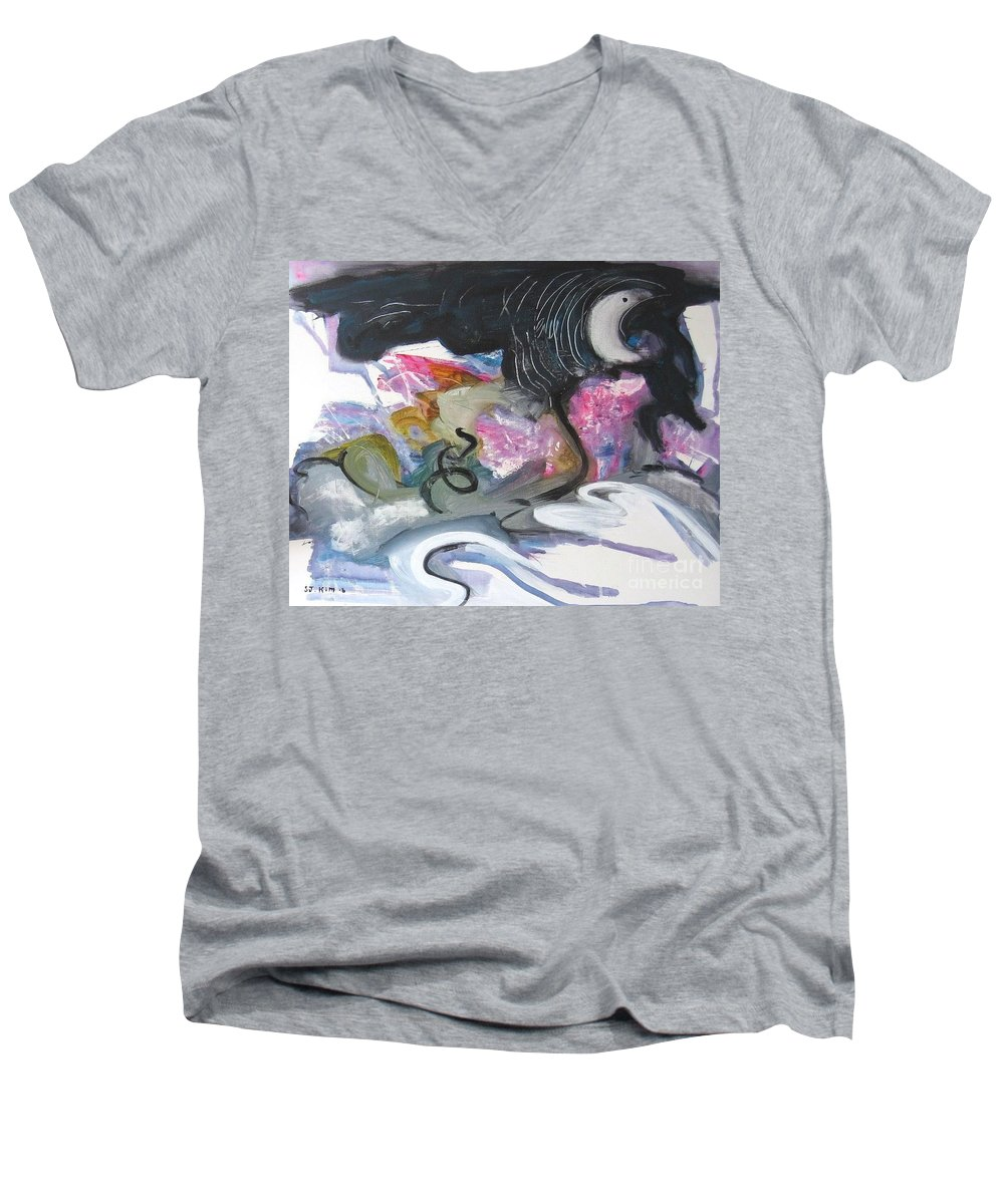 Abstract Paintings Men's V-Neck T-Shirt featuring the painting Moonlight Fever by Seon-Jeong Kim