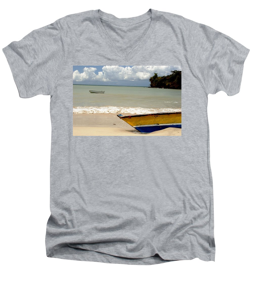 Boat Men's V-Neck T-Shirt featuring the photograph Morne Rouge Boats by Jean Macaluso