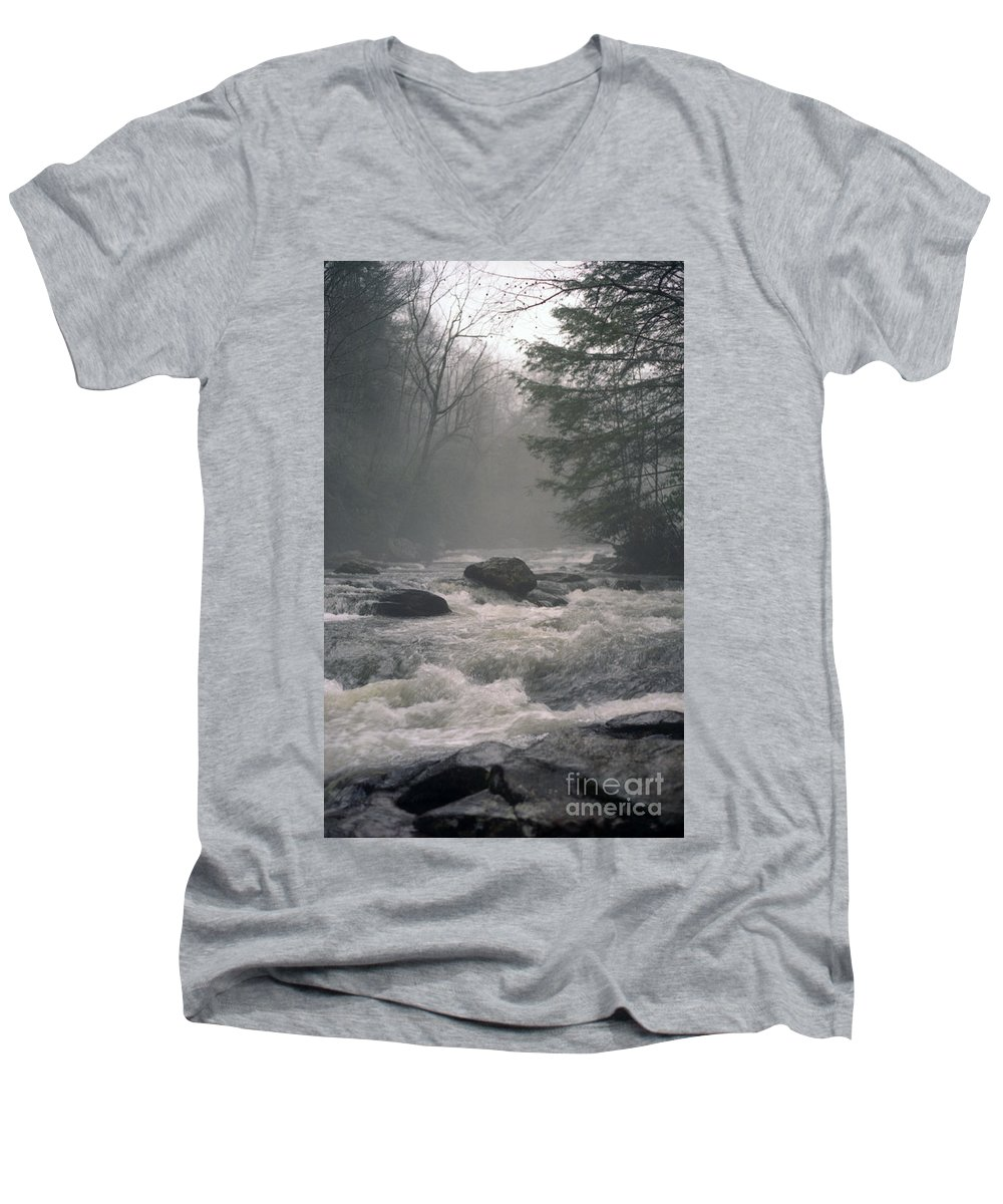 Rivers Men's V-Neck T-Shirt featuring the photograph Morning At The River by Richard Rizzo