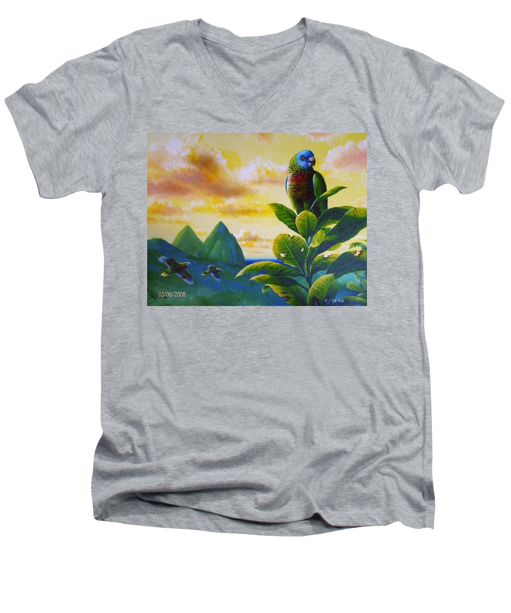 Chris Cox Men's V-Neck T-Shirt featuring the painting Morning Glory - St. Lucia Parrots by Christopher Cox