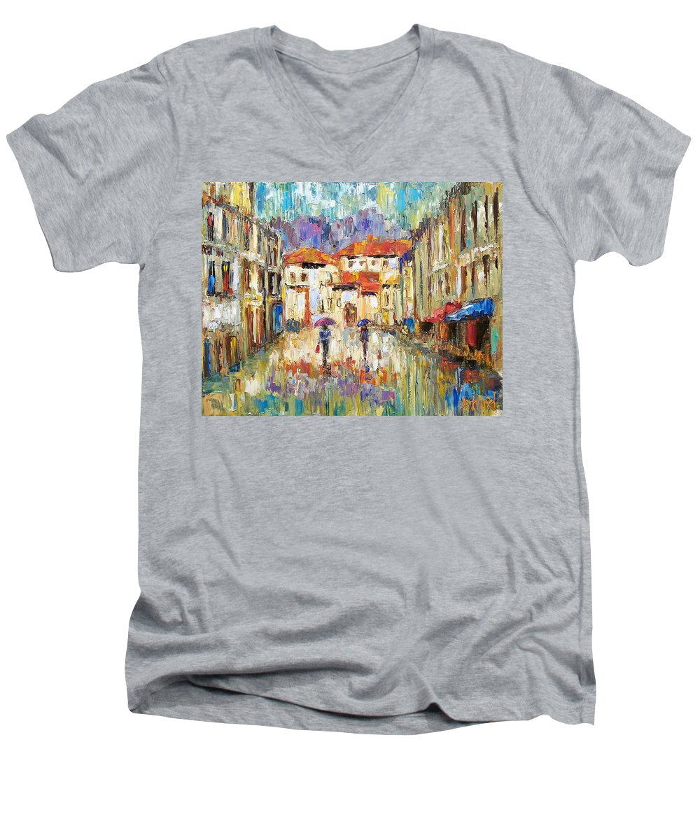 Landscape Men's V-Neck T-Shirt featuring the painting Morning Rain by Debra Hurd