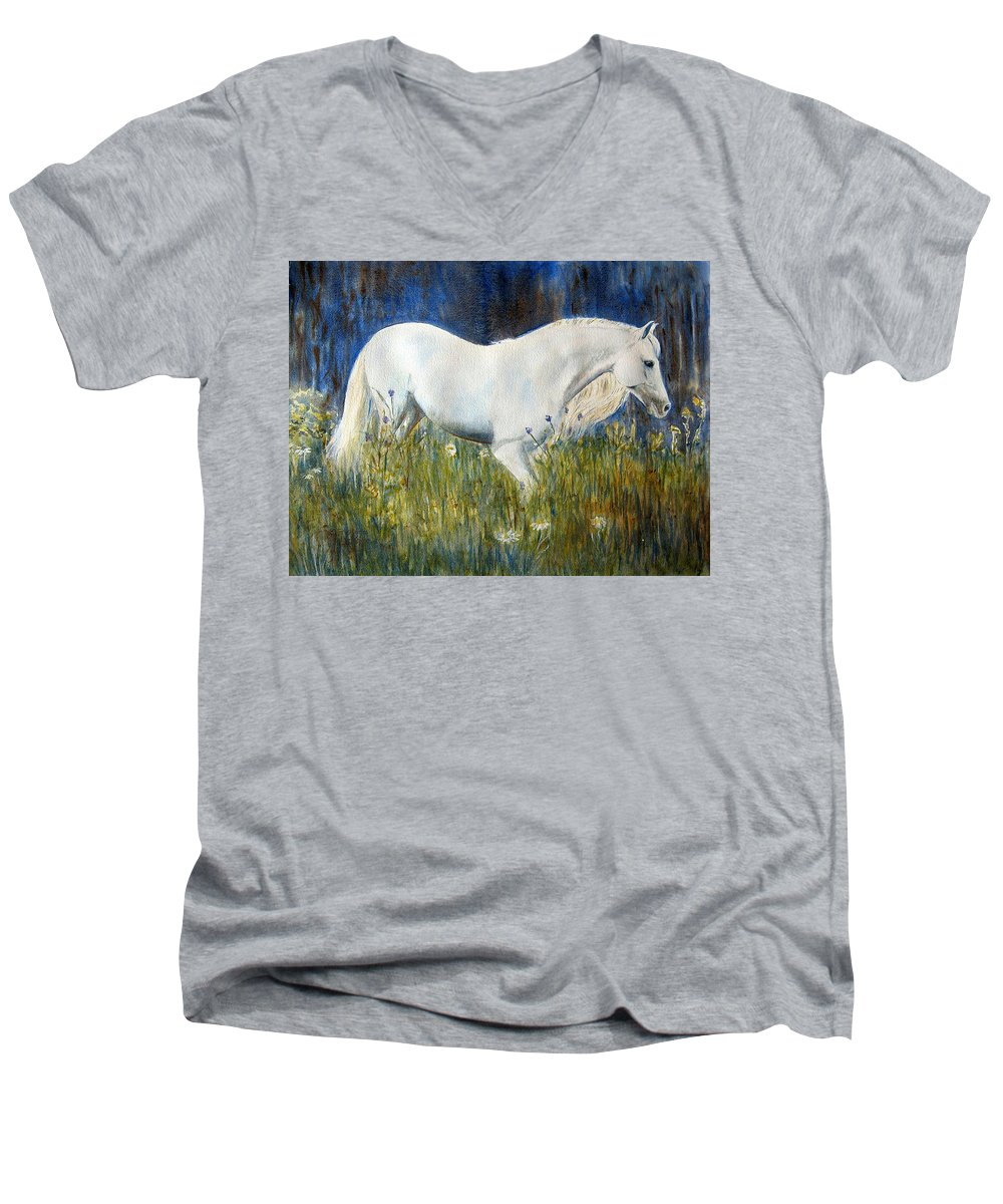 Horse Painting Men's V-Neck T-Shirt featuring the painting Morning Walk by Frances Gillotti