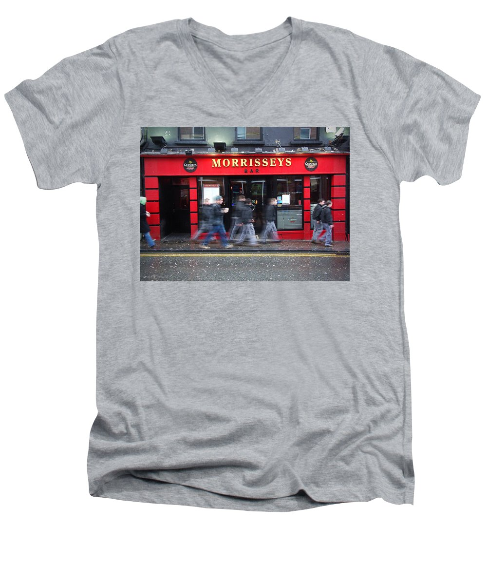 Pub Men's V-Neck T-Shirt featuring the photograph Morrissey by Tim Nyberg