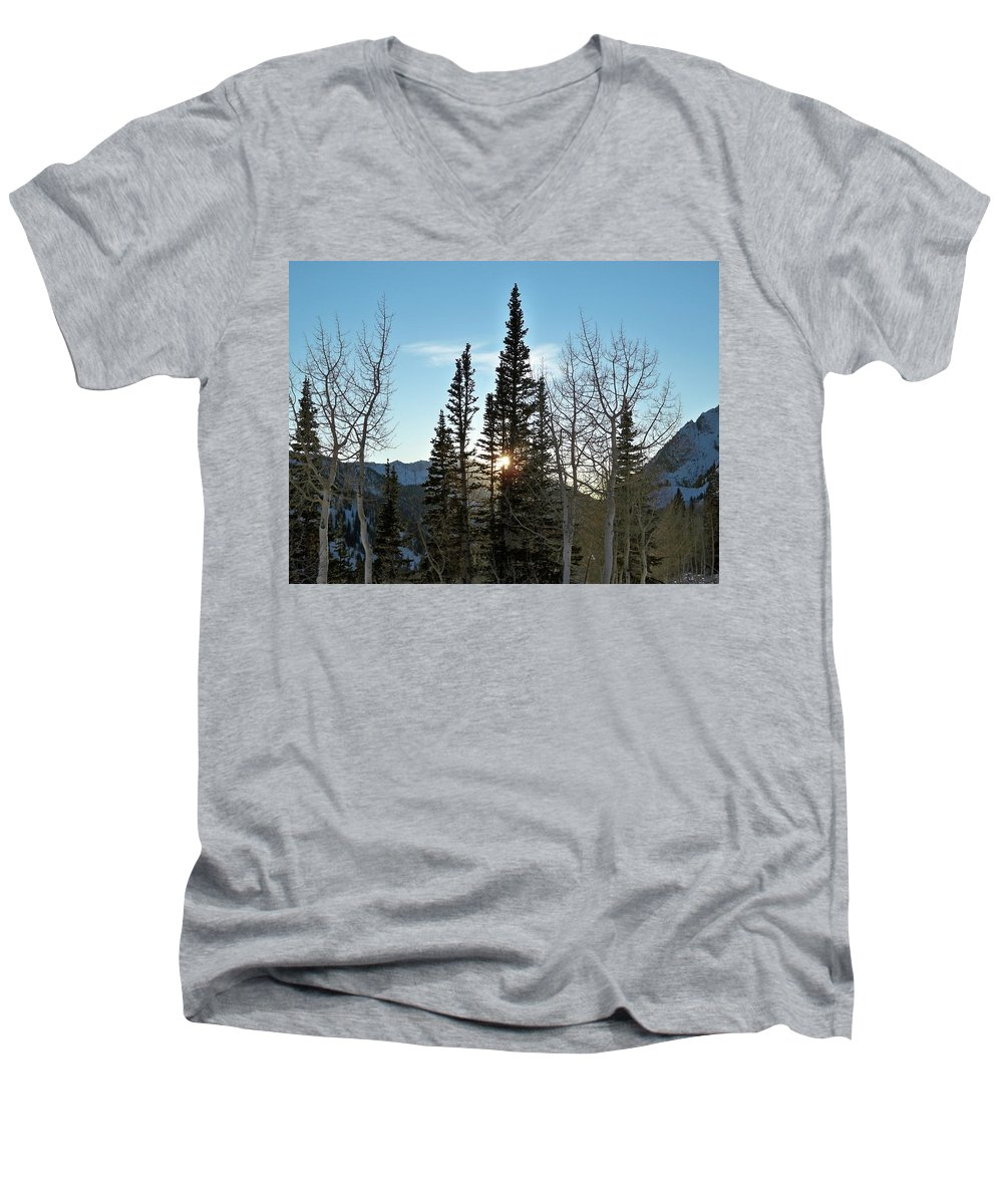 Rural Men's V-Neck T-Shirt featuring the photograph Mountain Sunset by Michael Cuozzo