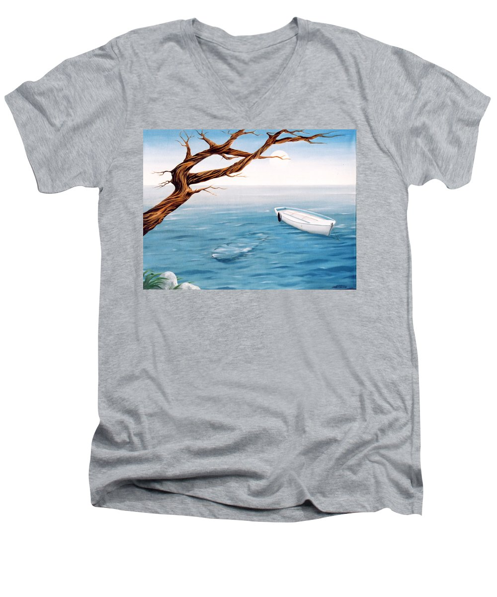 Seascape Prints Men's V-Neck T-Shirt featuring the painting Mourning Spring by Mark Cawood