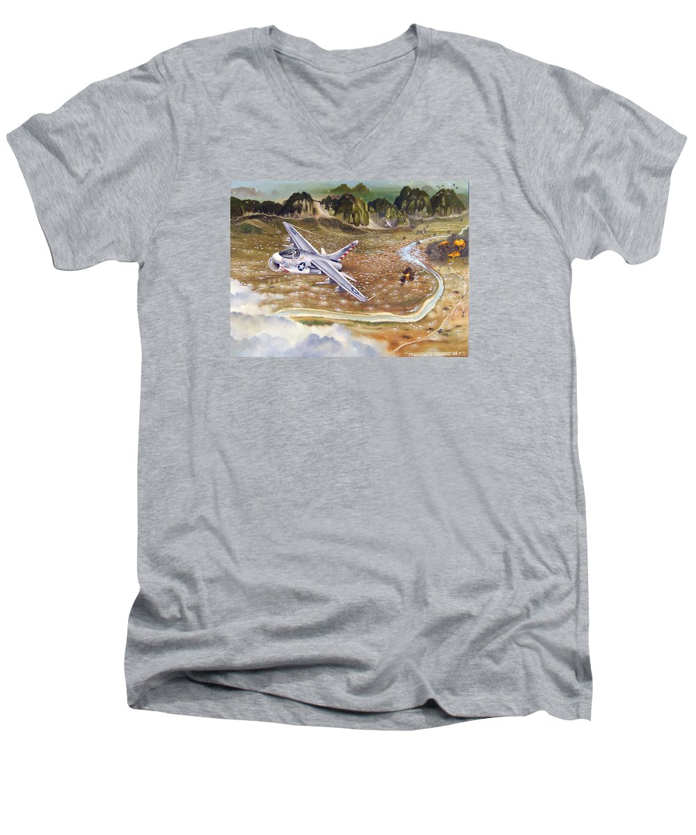 Aviation Men's V-Neck T-Shirt featuring the painting Mu Gia Mayhem by Marc Stewart