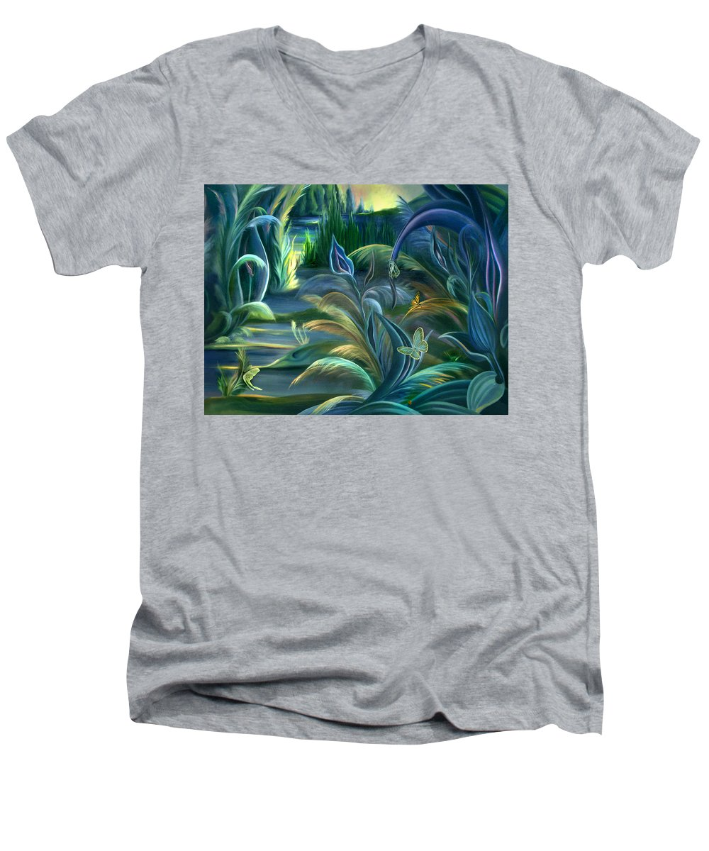 Mural Men's V-Neck T-Shirt featuring the painting Mural Insects Of Enchanted Stream by Nancy Griswold