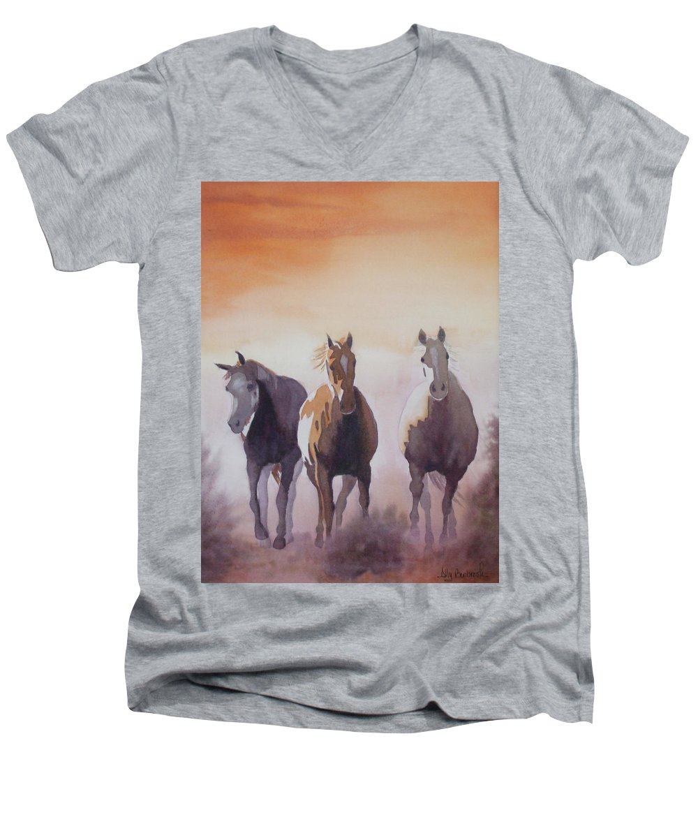 Horse Men's V-Neck T-Shirt featuring the painting Mustangs Out Of The Fire by Ally Benbrook