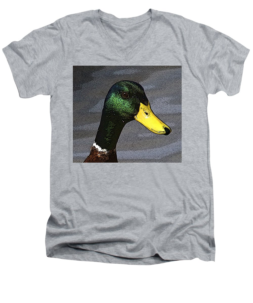 Duck Men's V-Neck T-Shirt featuring the photograph My Close Up by Robert Pearson