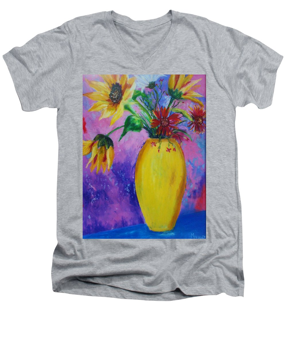 Sunflowers Men's V-Neck T-Shirt featuring the painting My Flowers by Melinda Etzold