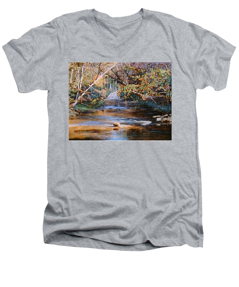 Peace Project Men's V-Neck T-Shirt featuring the painting My Secret Place by Ben Kiger